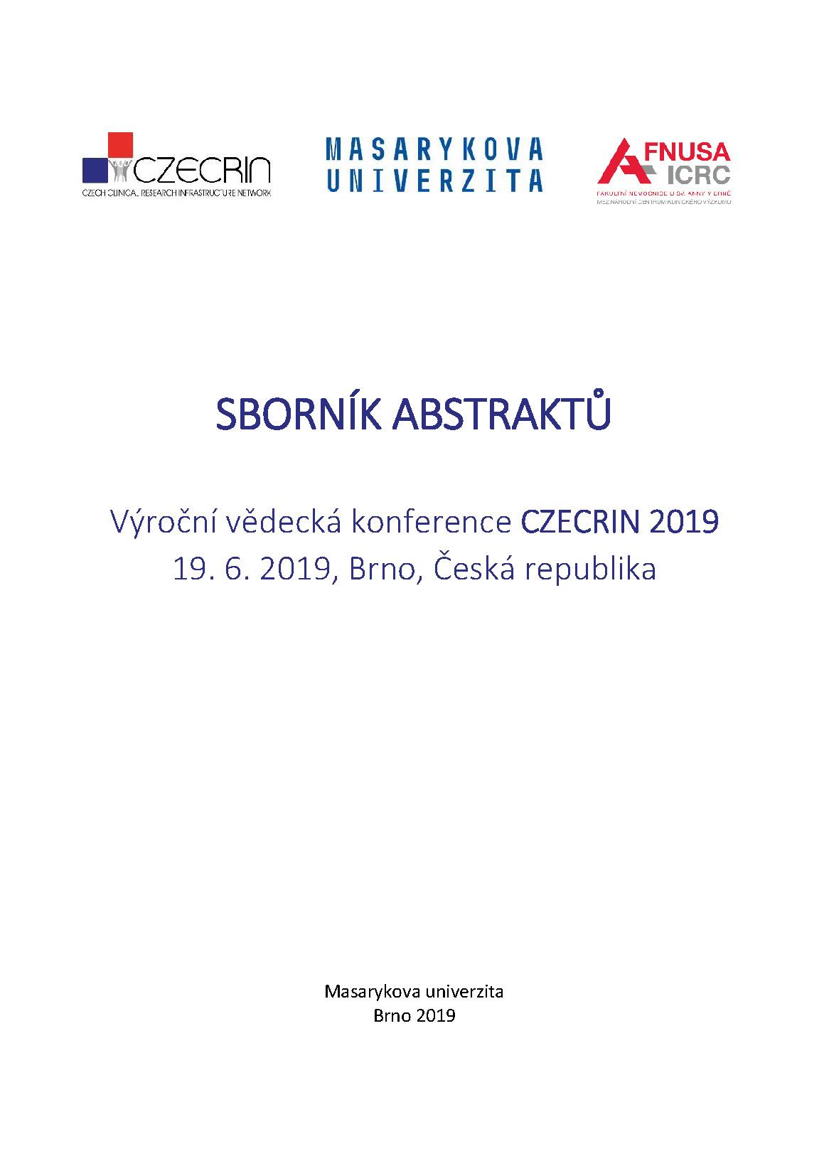 Obálka pro Výroční vědecká konference CZECRIN 2019. Sborník abstraktů