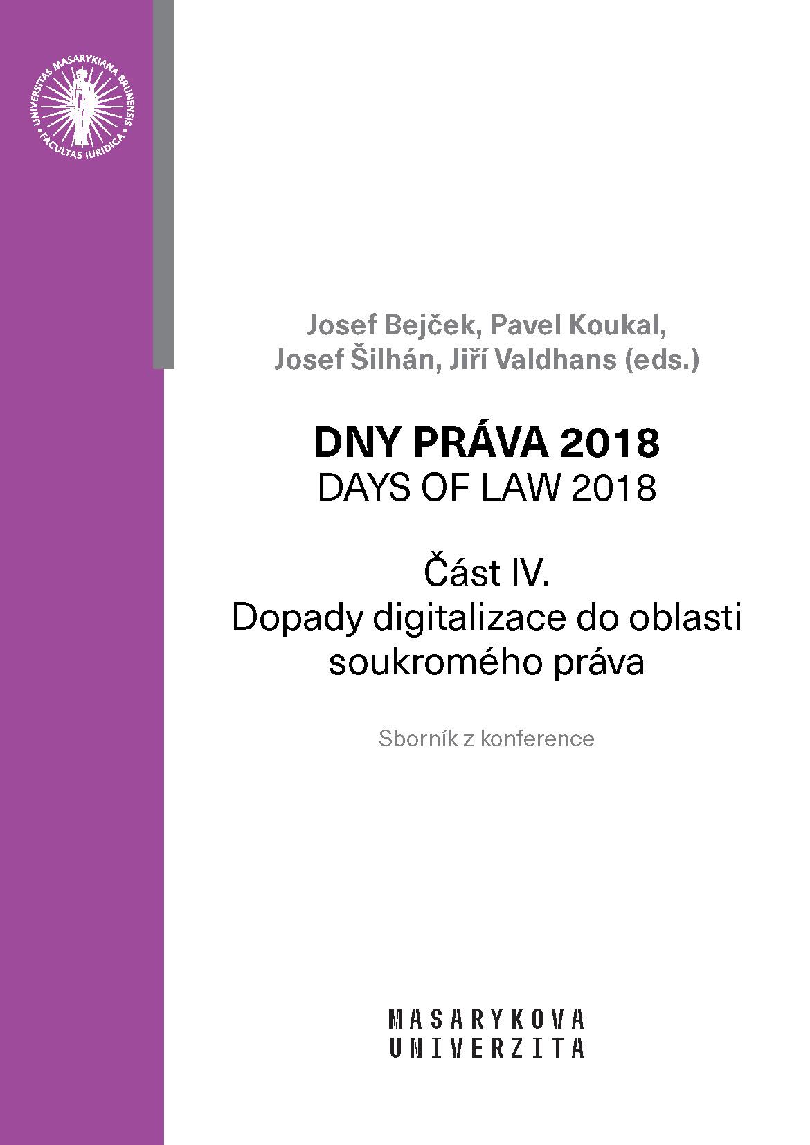 Obálka pro Dny práva 2018. Dopady digitalizace do oblasti soukromého práva