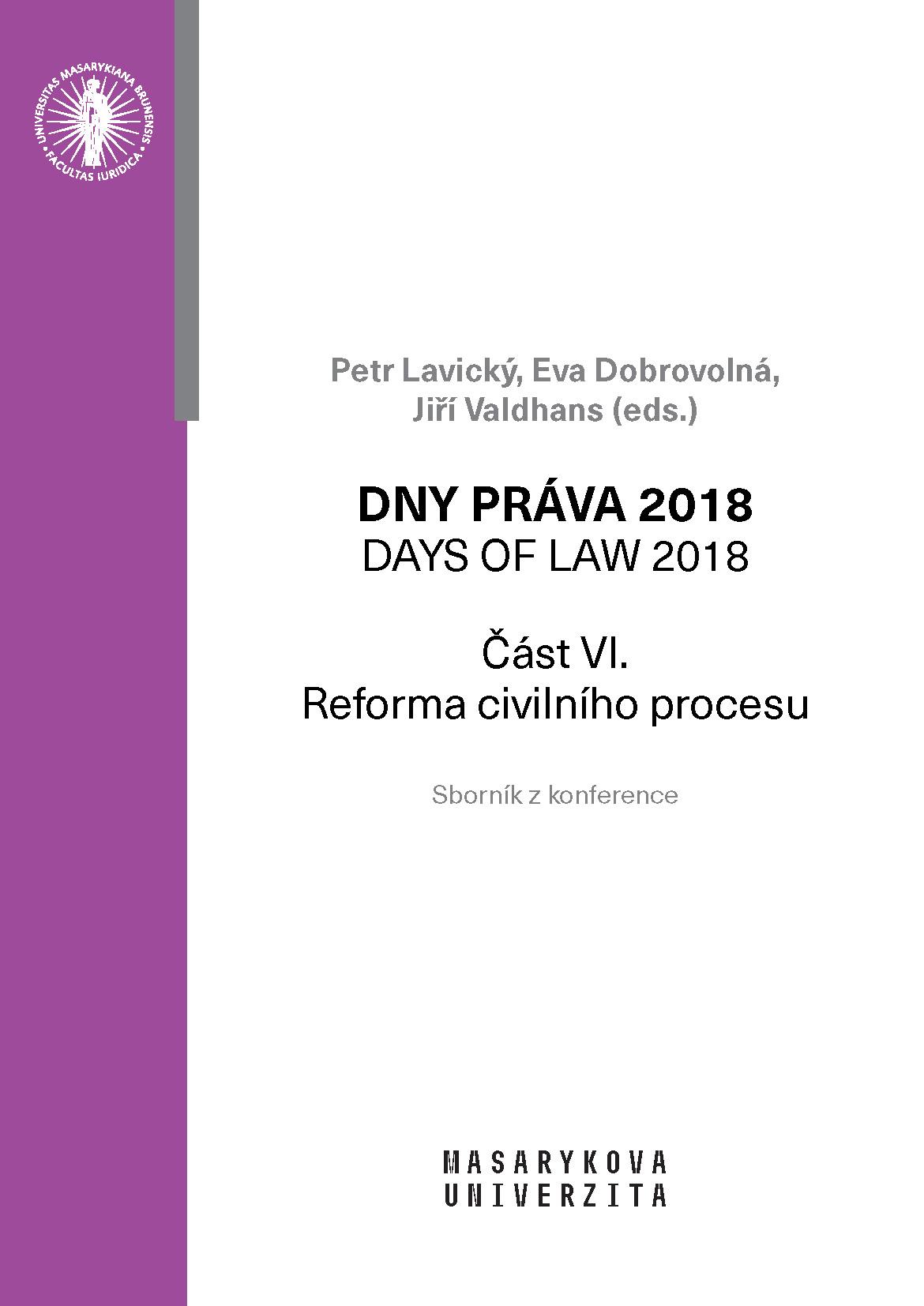 Obálka pro Dny práva 2018. Reforma civilního procesu