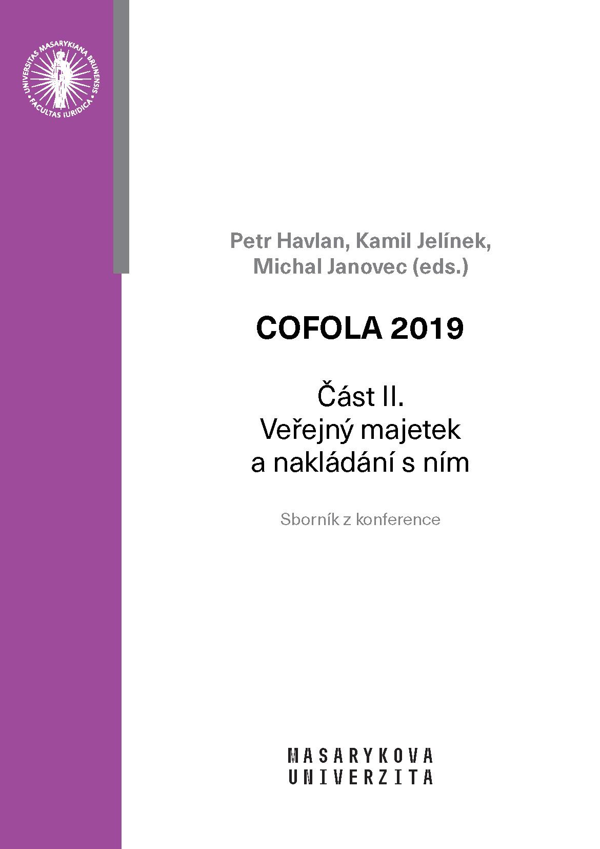 Obálka pro COFOLA 2019. Část II. – Veřejný majetek a nakládání s ním