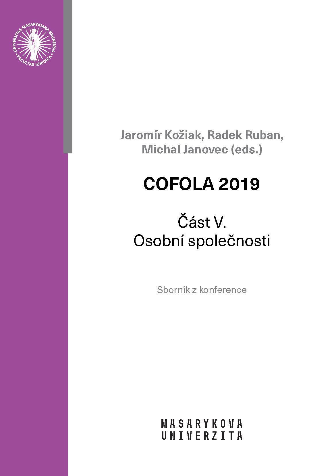 Obálka pro COFOLA 2019. Část V. – Osobní společnosti