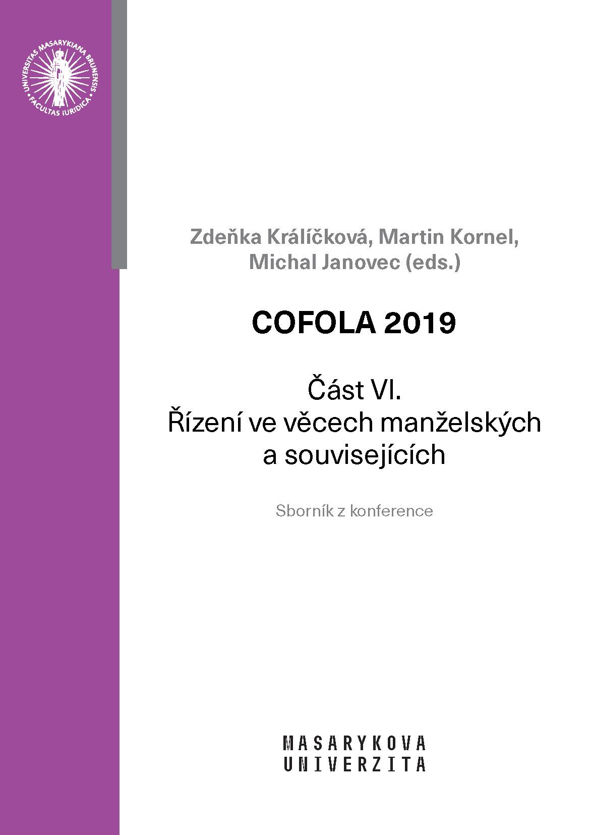 Obálka pro COFOLA 2019. Část VI. – Řízení ve věcech manželských a souvisejících