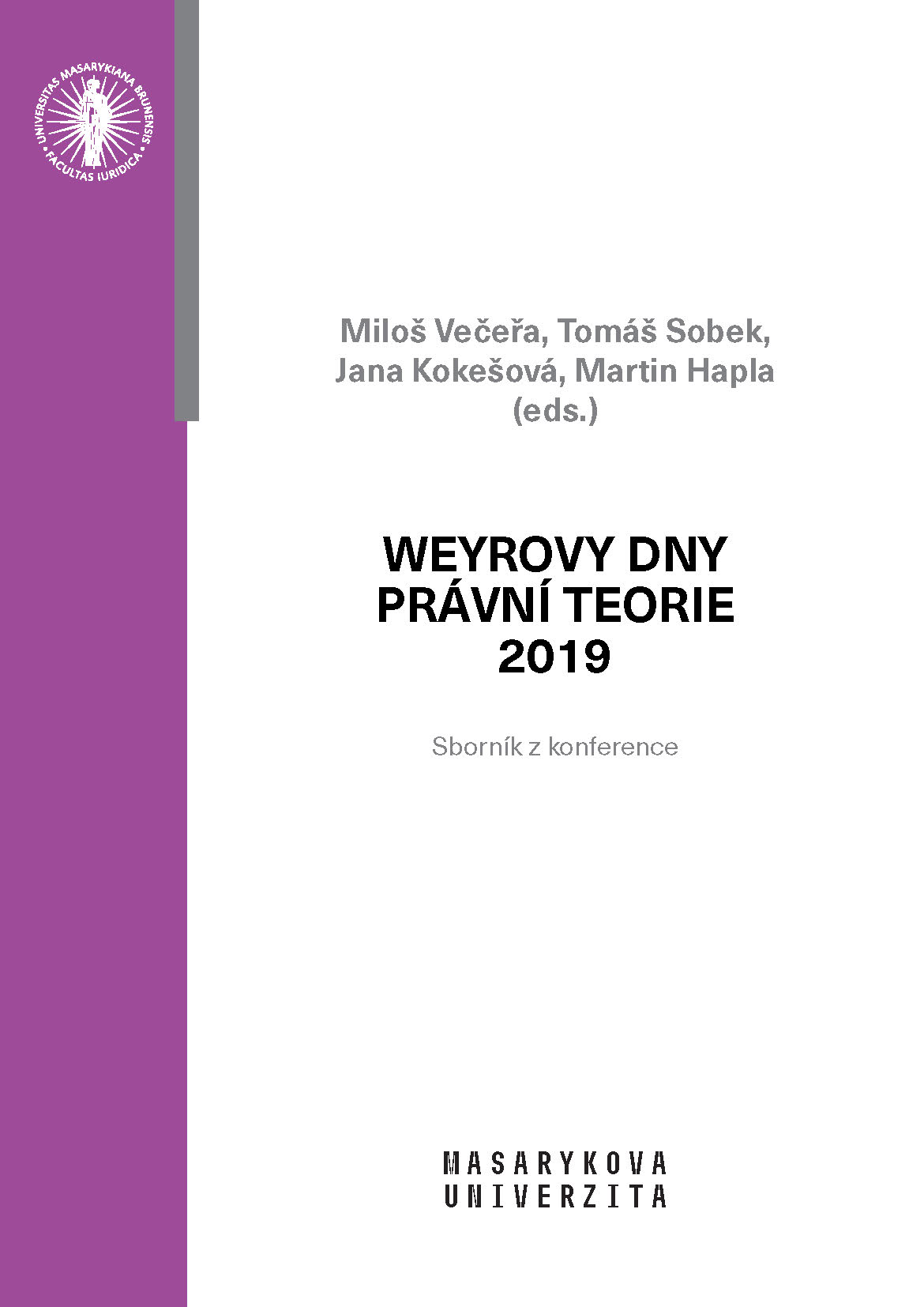 Obálka pro Weyrovy dny právní teorie 2019