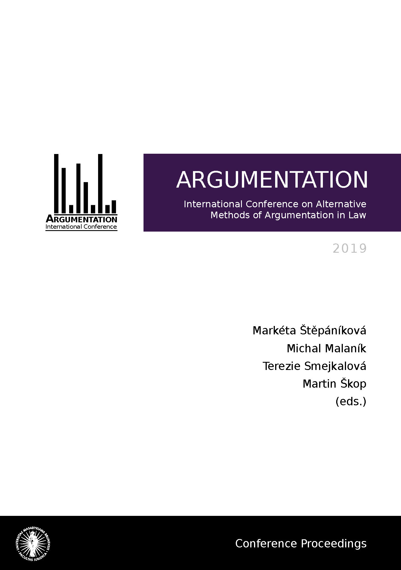 Obálka pro Argumentation 2019. International Conference on Alternative Methods of Argumentation in Law