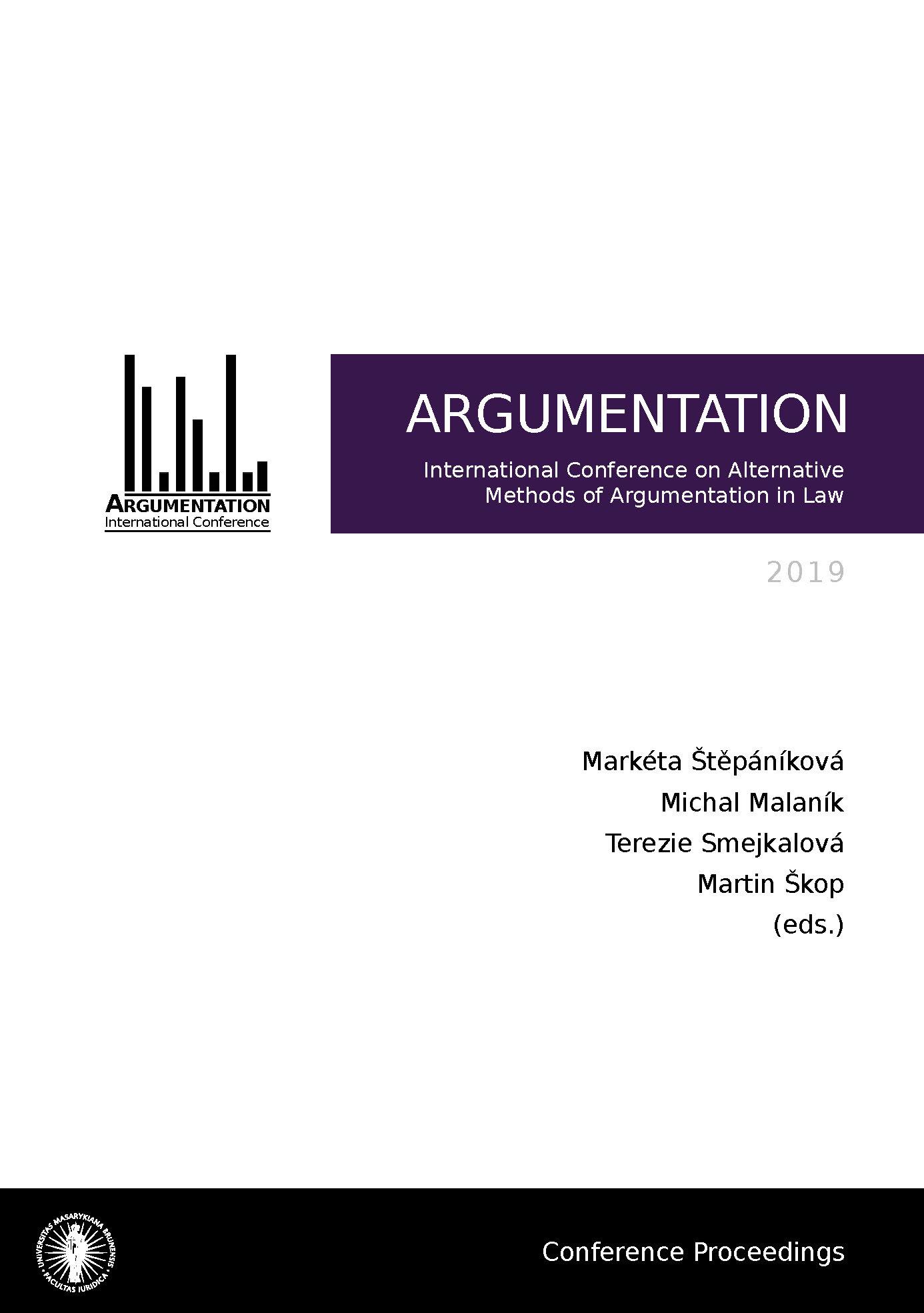Obálka pro Argumentation 2019. International Conference on Alternative Methods of Argumentation in Law