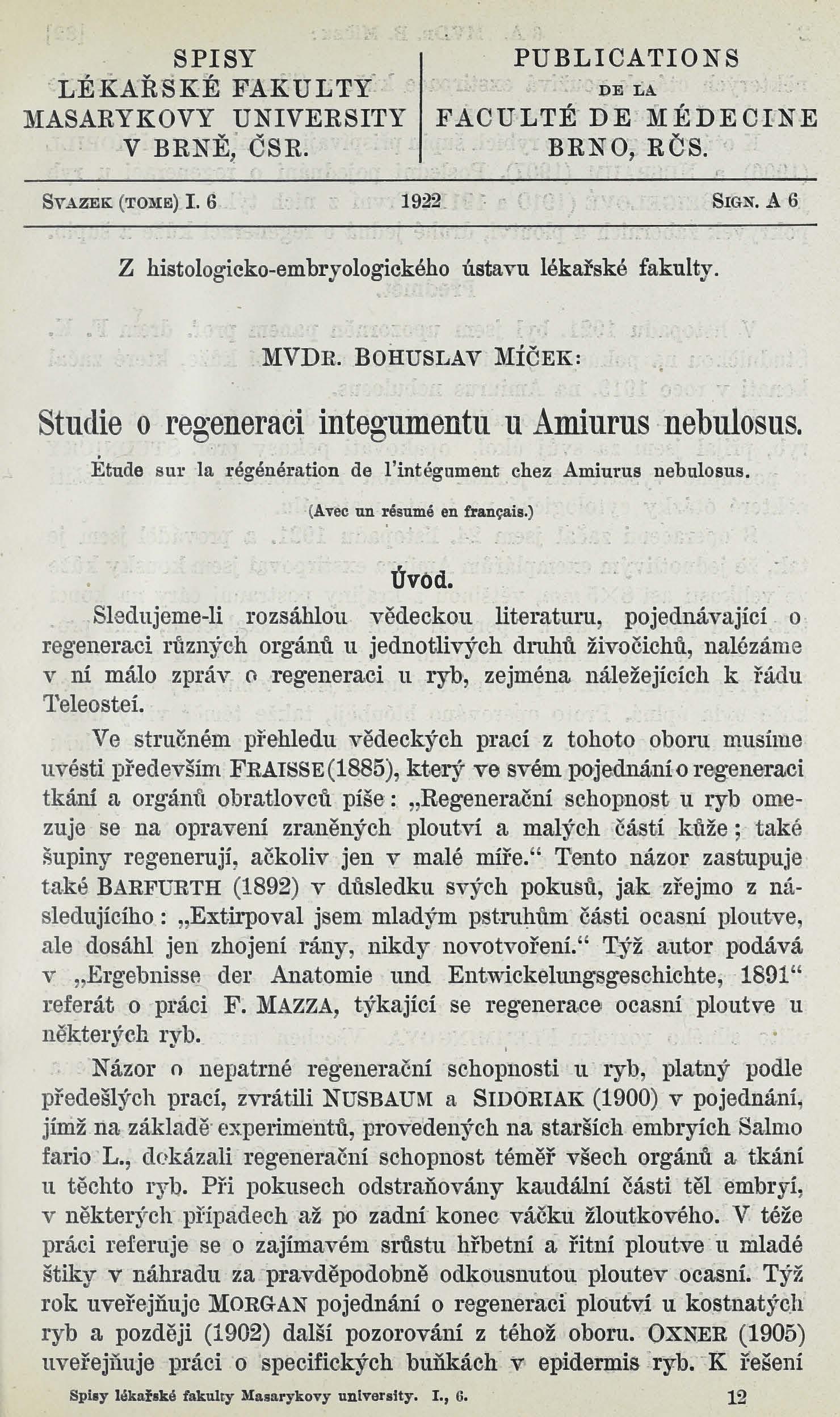 Obálka pro Studie o regeneraci integumentu v Amiurus nebulosus / Étude sur la régénération de l'intégument chez amiurus nebulosus