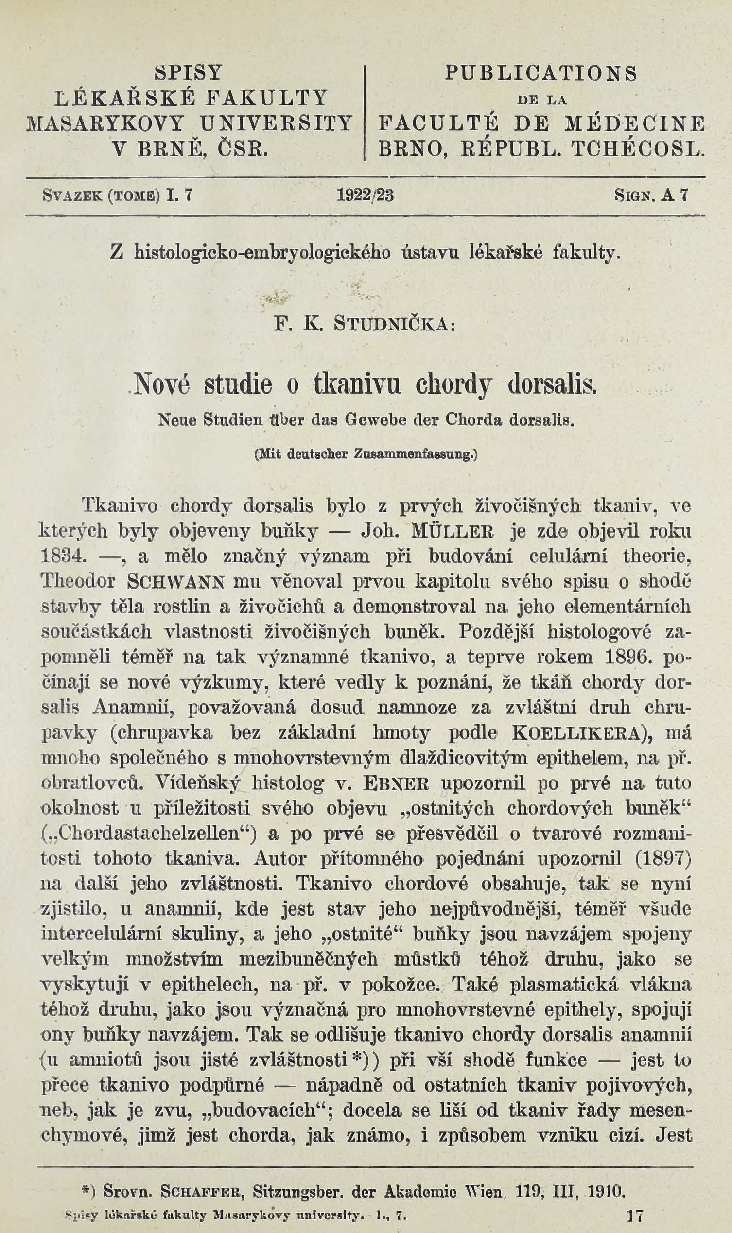 Obálka pro Nové studie o tkanivu Chordy dorsalis / Neue Studien über das Gewerbe der Chorda dorsalis