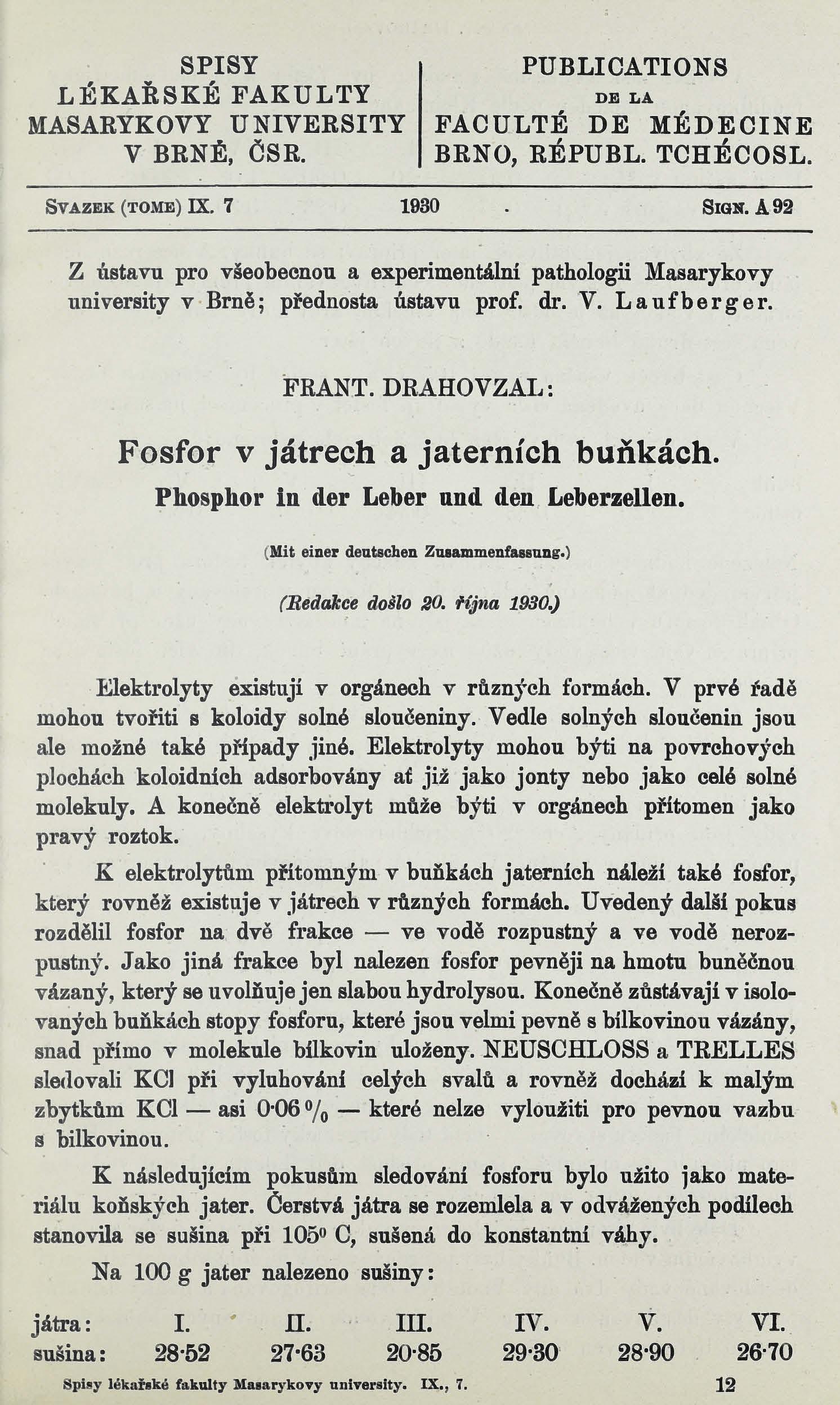 Obálka pro Fosfor v játrech a jaterních buňkách / Phosphor in der Leber und den Leberzellen