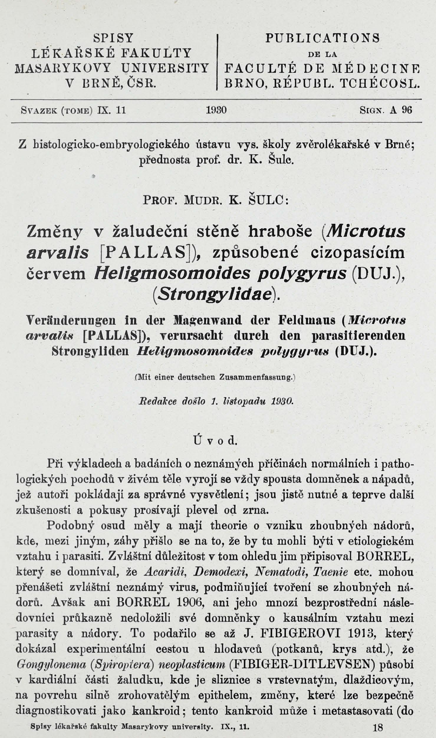 Obálka pro Změny v žaludeční stěně hraboše (Microtus arvalis [Pallas]), způsobené cizopasícím červem Heligmosomoides polygyrus (DUJ.), (Strongylidae) / Veränderung in der Magenwand der Feldmaus (Microtus arvalis [Pallas]), verursacht durch den parasitierenden Strongyliden Heligmosomoides polygyrus (DUJ.)
