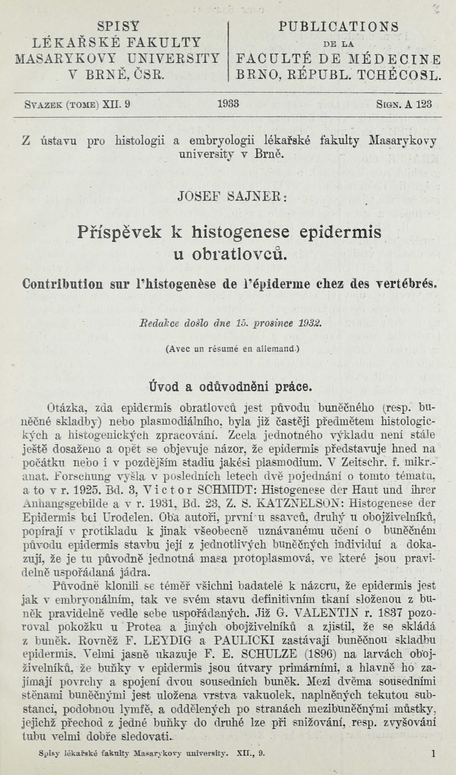 Obálka pro Příspěvek k histogenese epidermis u obratlovců / Contribution sur l'histogenèse de l'épiderme chez des vertébrés