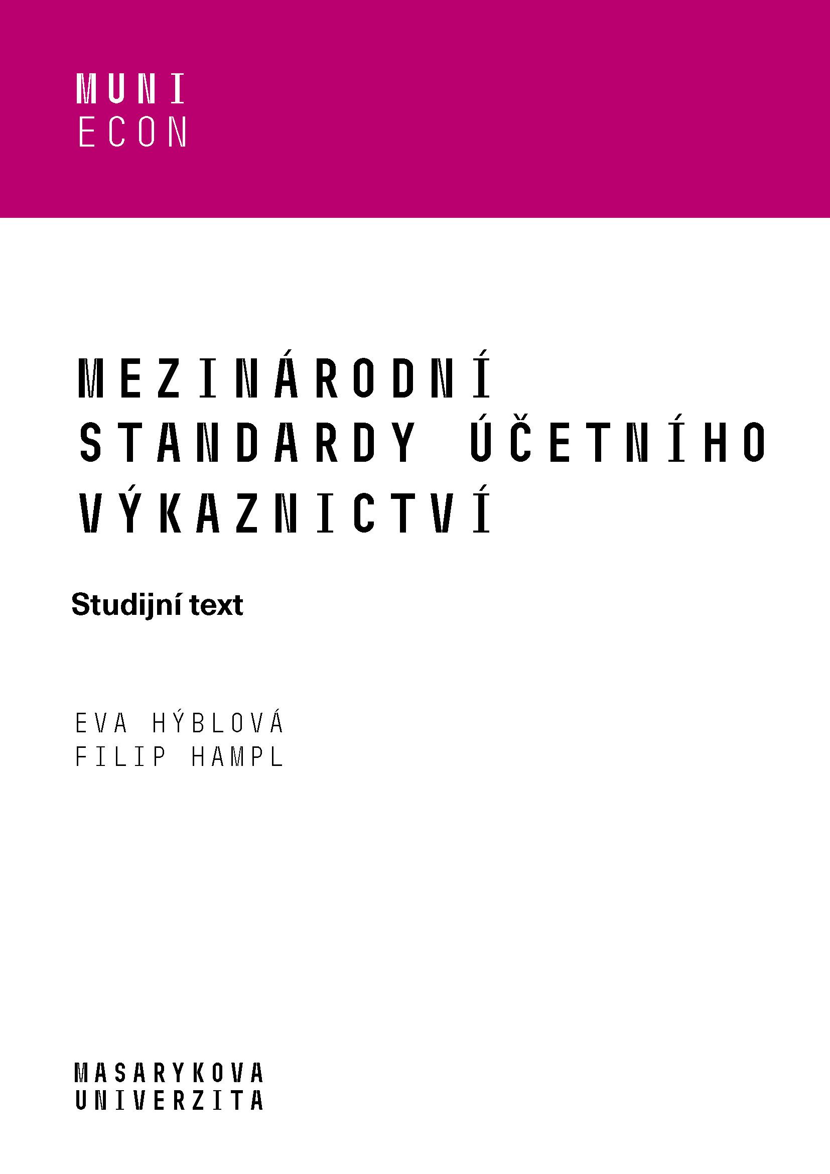 Obálka pro Mezinárodní standardy účetního výkaznictví. Studijní text