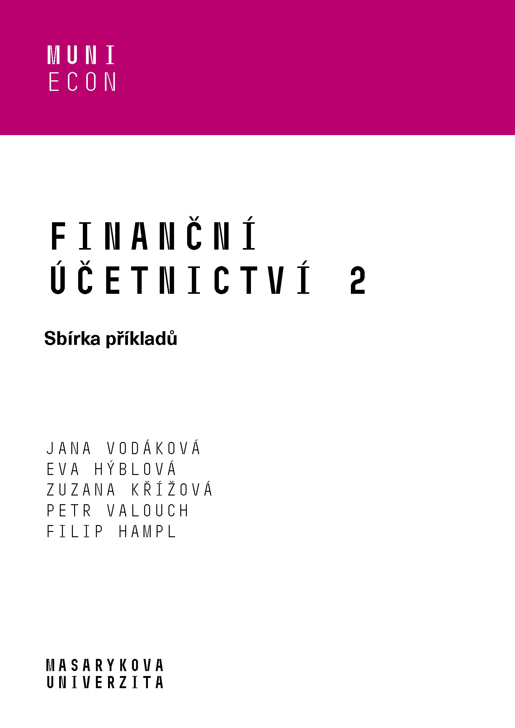 Obálka pro Finanční účetnictví 2. Sbírka příkladů