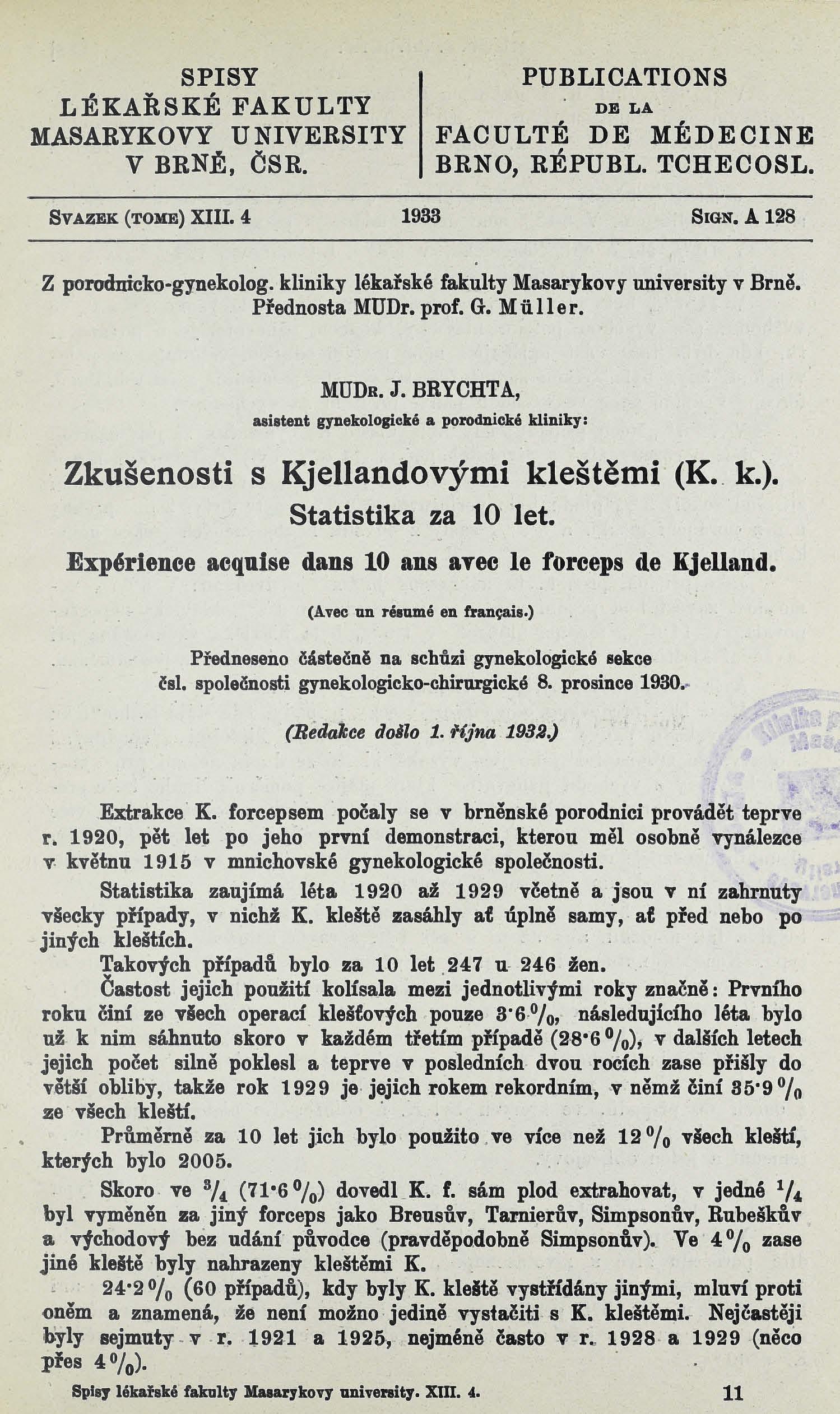 Obálka pro Zkušenosti s Kjellandovými kleštěmi (K. k.) / Expérience acquise dans 10 ans avec le forceps de Kjelland : statistika za 10 let