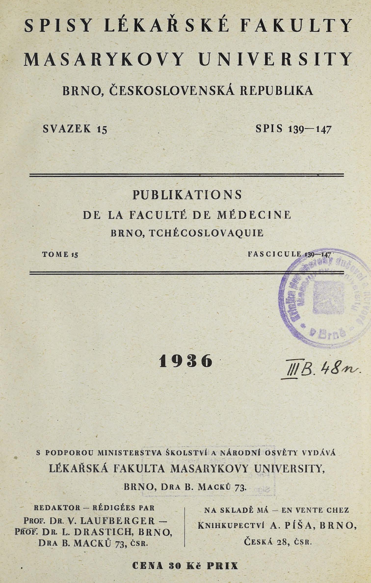 Obálka pro Spisy Lékařské fakulty, svazek 15. Intro