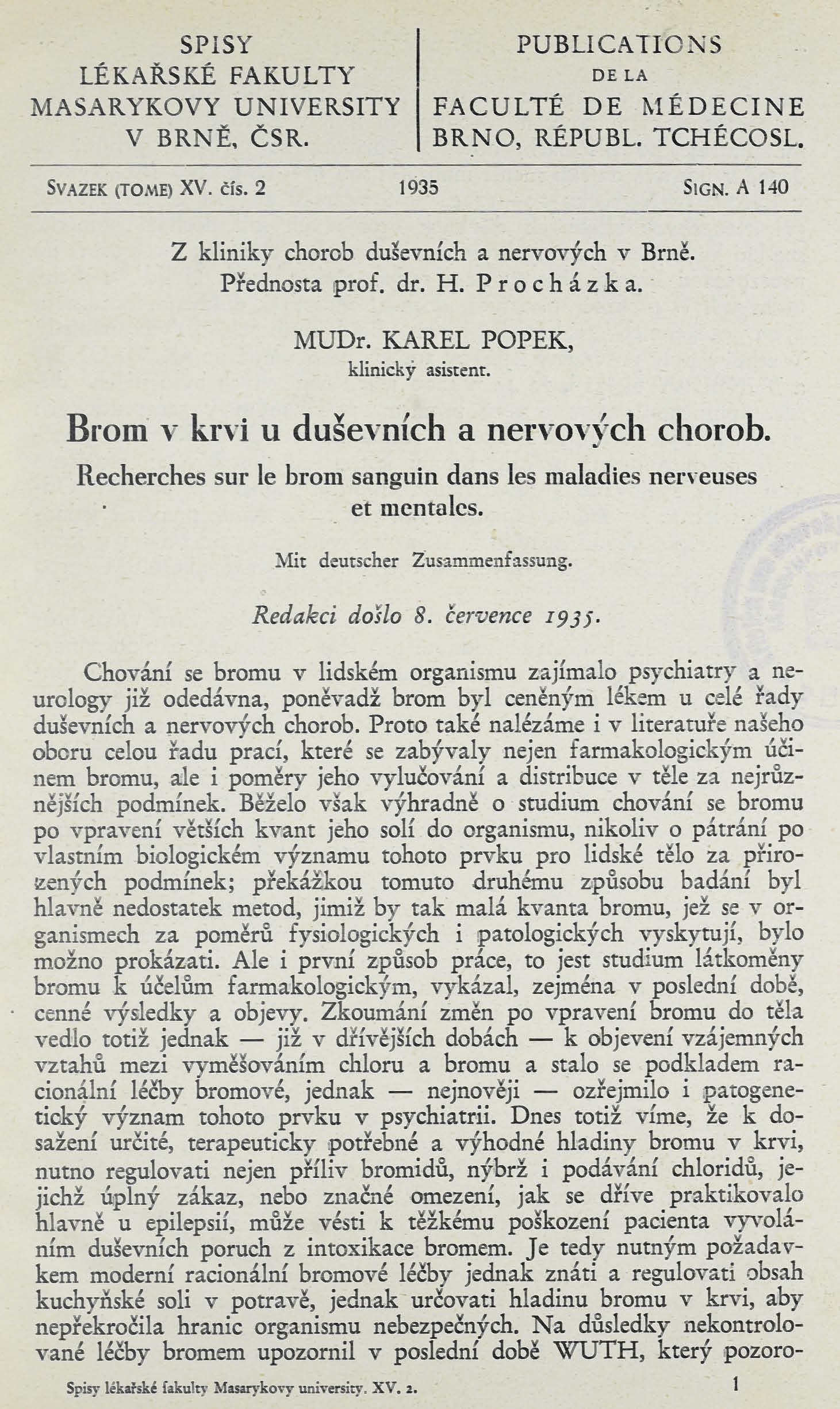 Obálka pro Brom v krvi u duševních a nervových chorob / Recherches sur le brom sanguin dans les maladies nerveuses et mentales