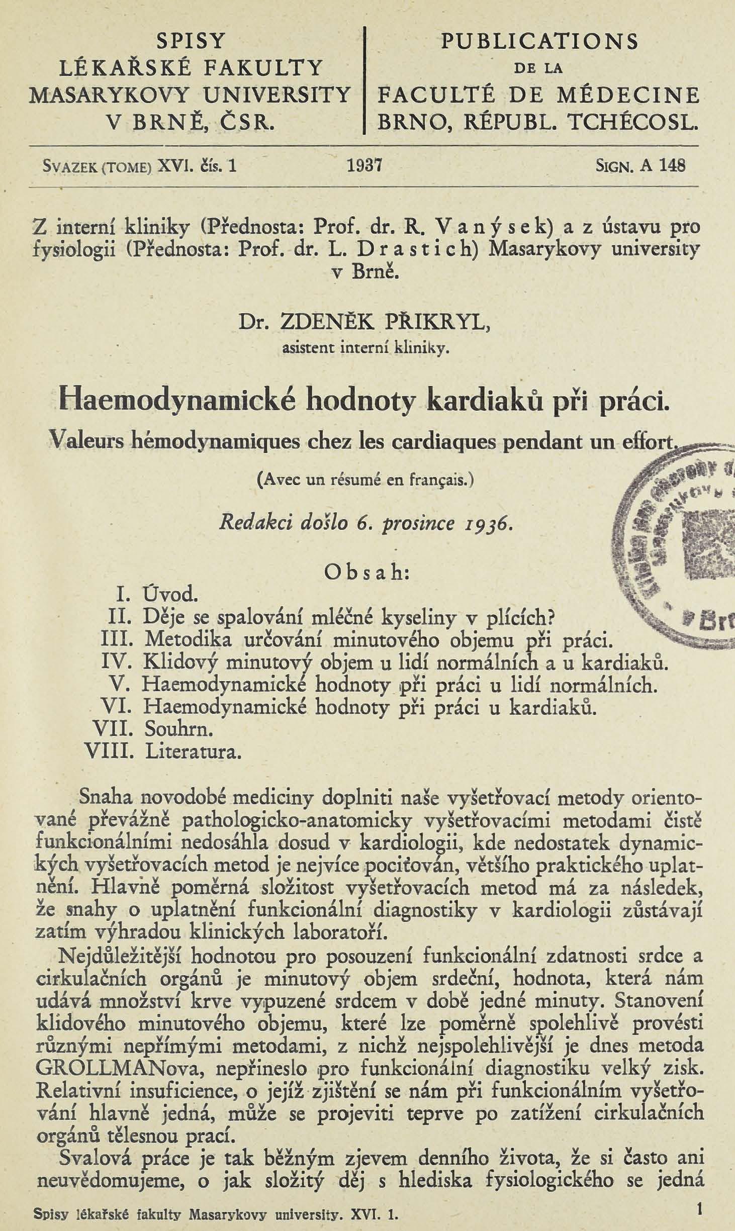 Obálka pro Haemodynamické hodnoty kardiaků při práci / Valeurs hémodynamiques chez les cardiaques pendant un effort