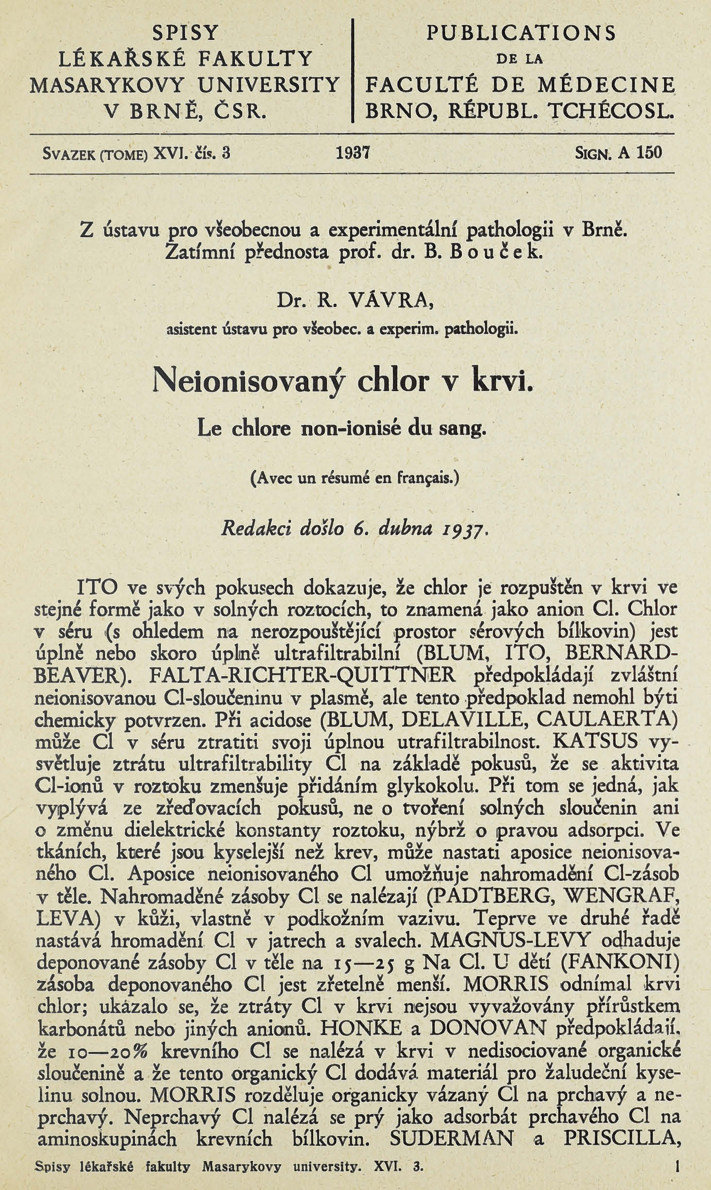 Obálka pro Neionisovaný chlor v krvi / Le chlore non-ionisé du sang / Le chlore non-ionisé du sang