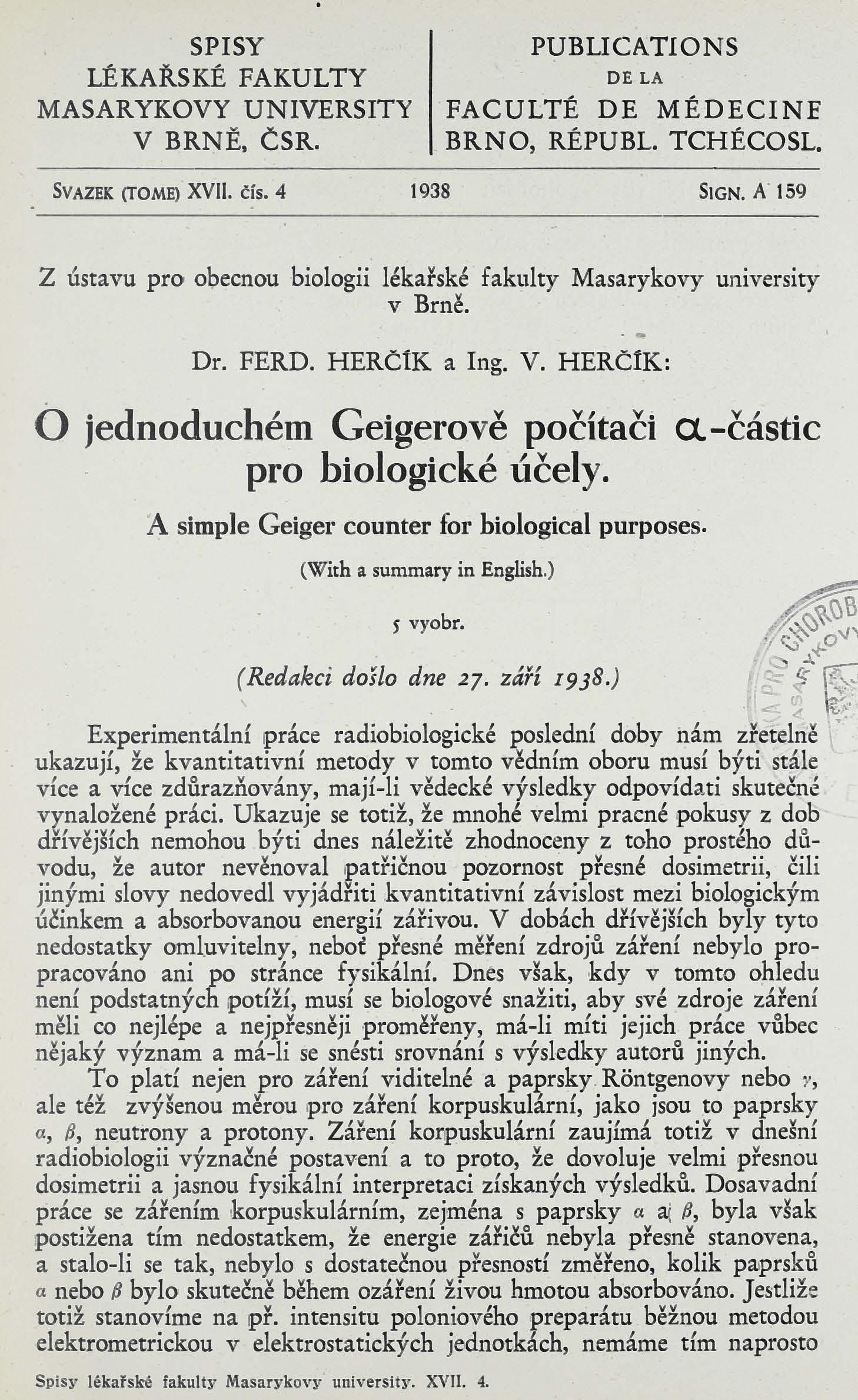 Obálka pro O jednoduchém Geigerově počítači α-částic pro biologické účely / A simple Geiger counter for biological purposes