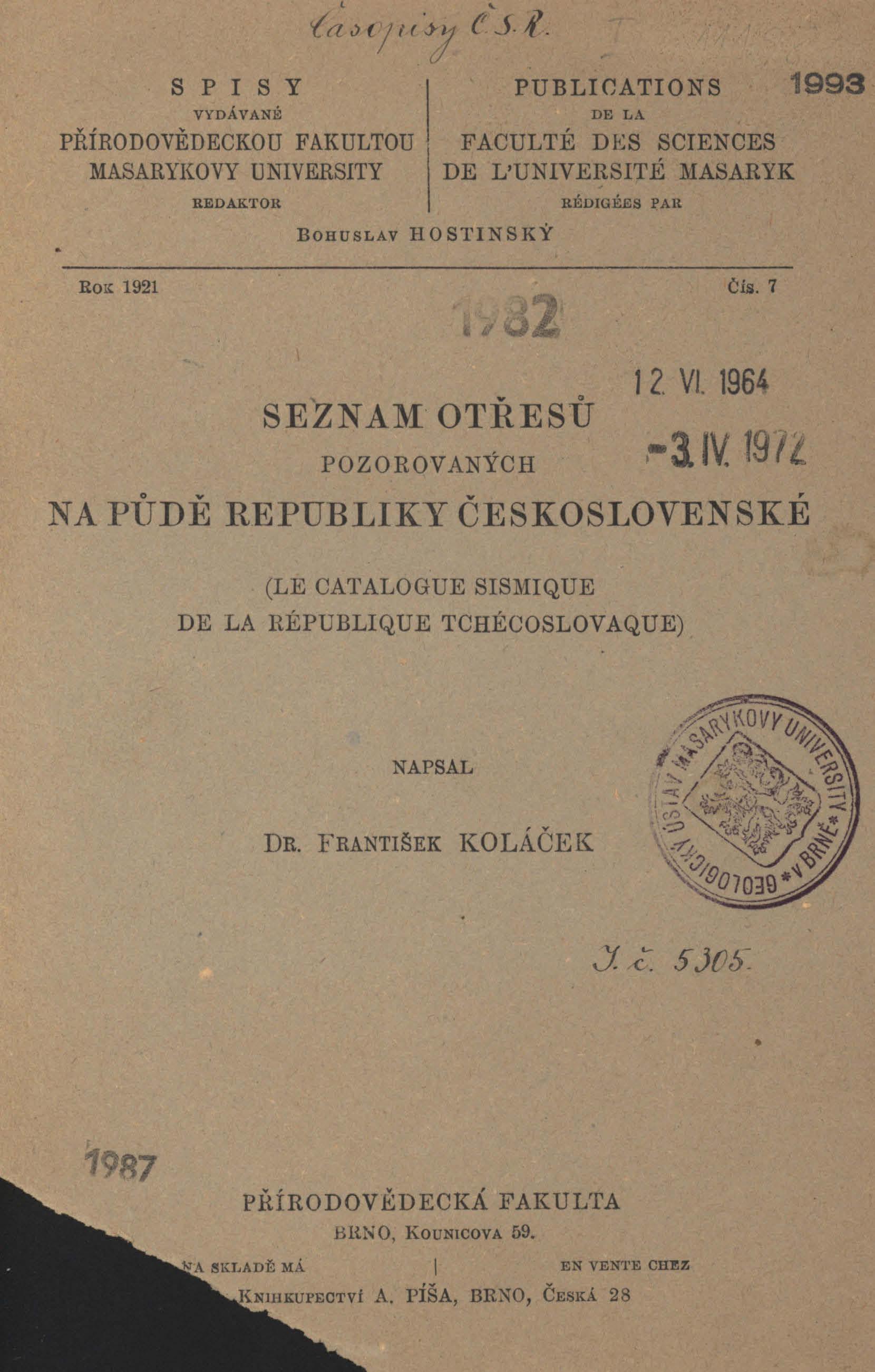 Obálka pro Seznam otřesů pozorovaných na půdě Republiky československé