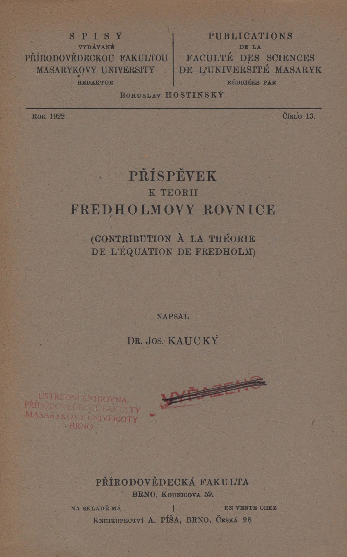 Obálka pro Příspěvek k teorii Fredholmovy rovnice