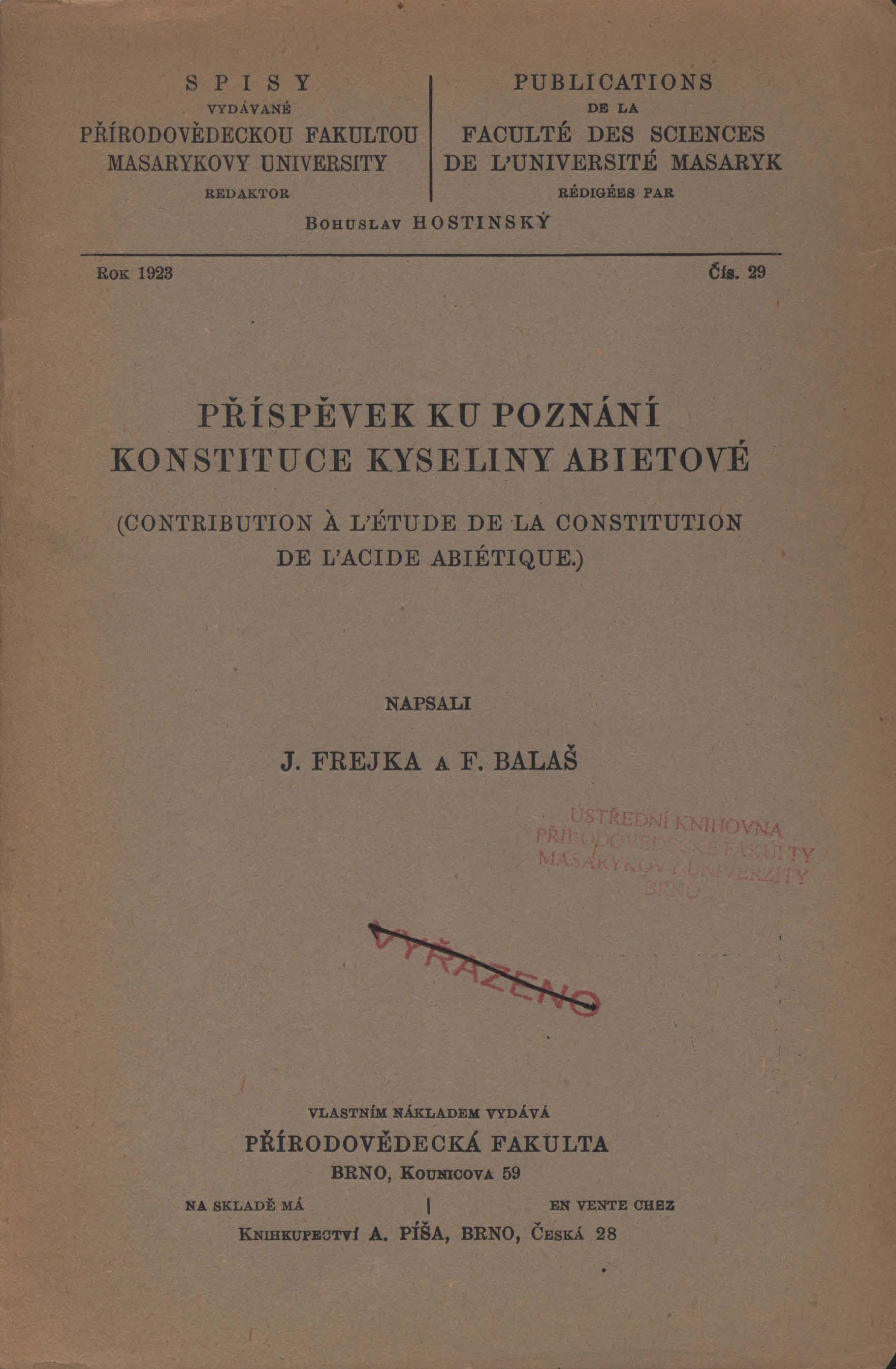 Obálka pro Příspěvek ku poznání konstituce kyseliny abietové