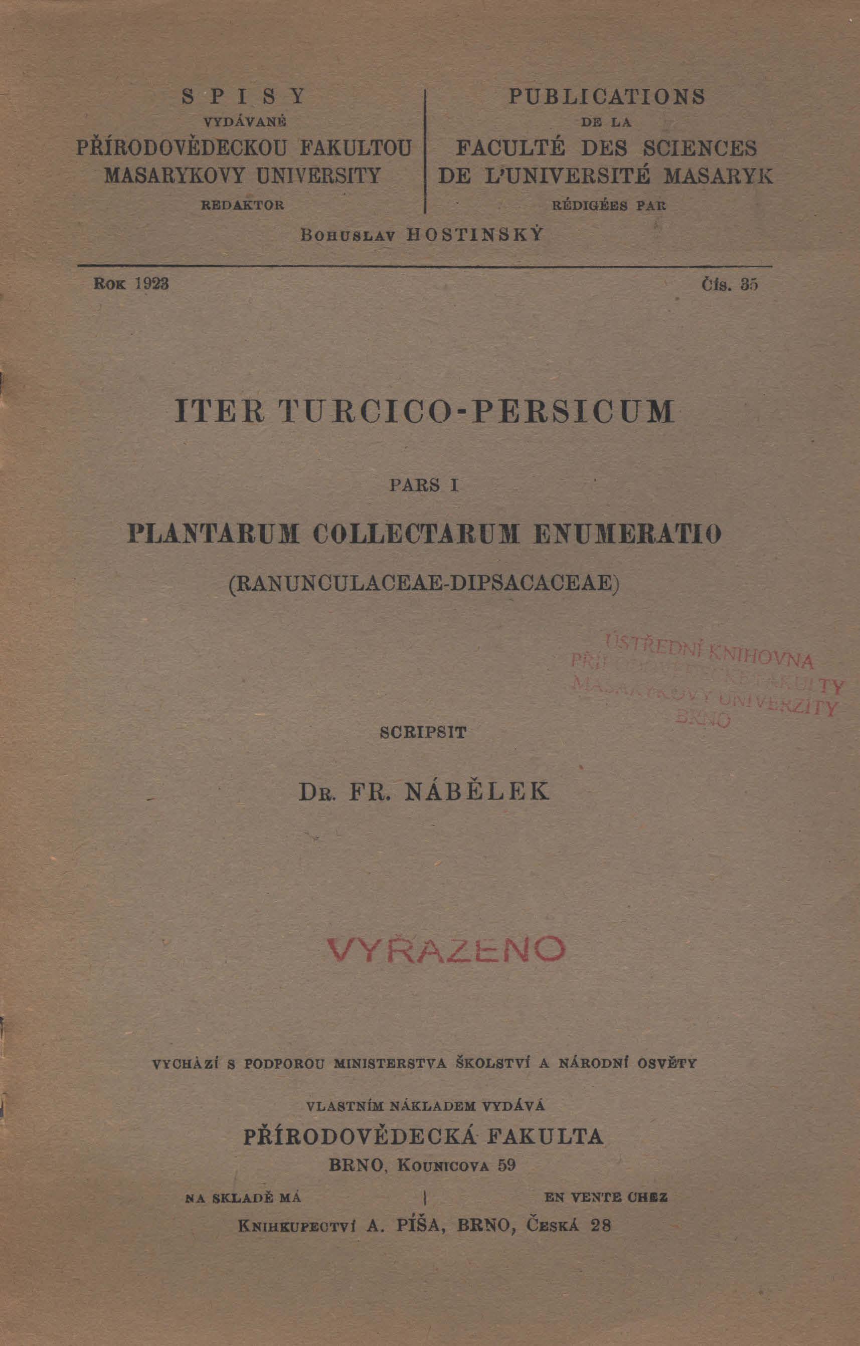 Obálka pro Iter Turcico-Persicum. Pars I, Plantarum collectarum enumeratio (Ranunculaceae-Dipsacaceae)