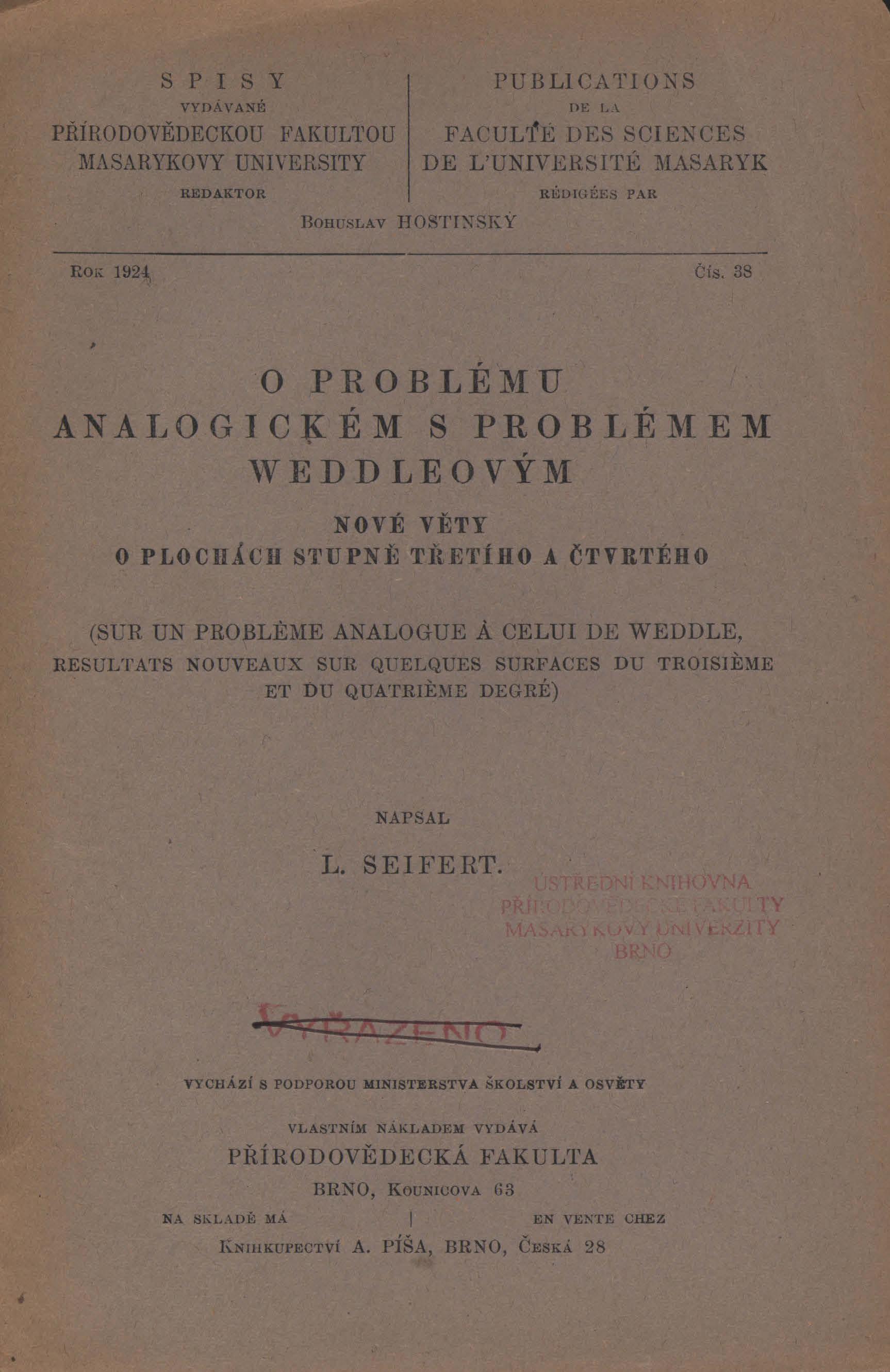 Obálka pro O problému analogickém s problémem Weddleovým : nové věty o plochách stupně třetího a čtvrtého
