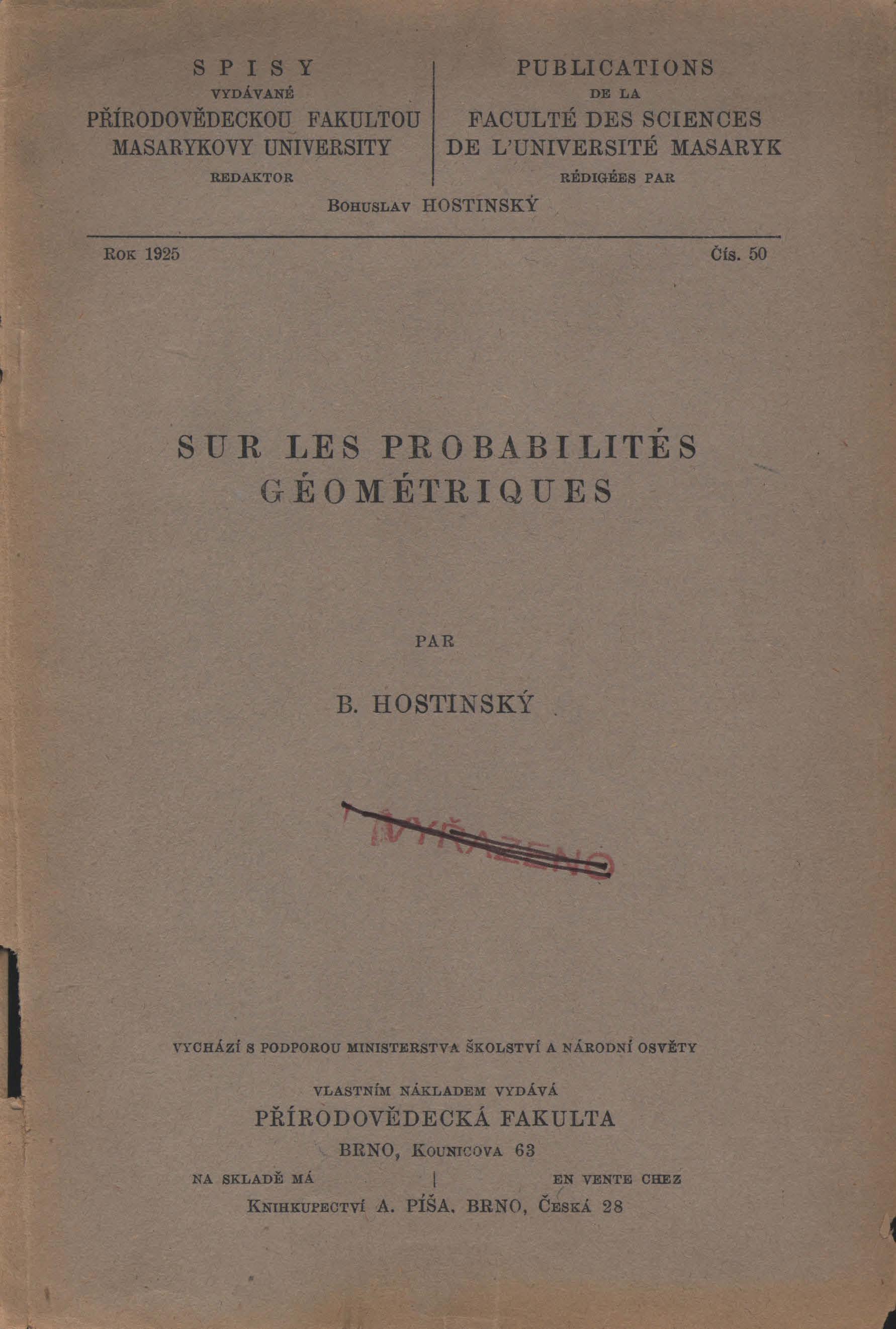 Obálka pro Sur les probabilités géométriques