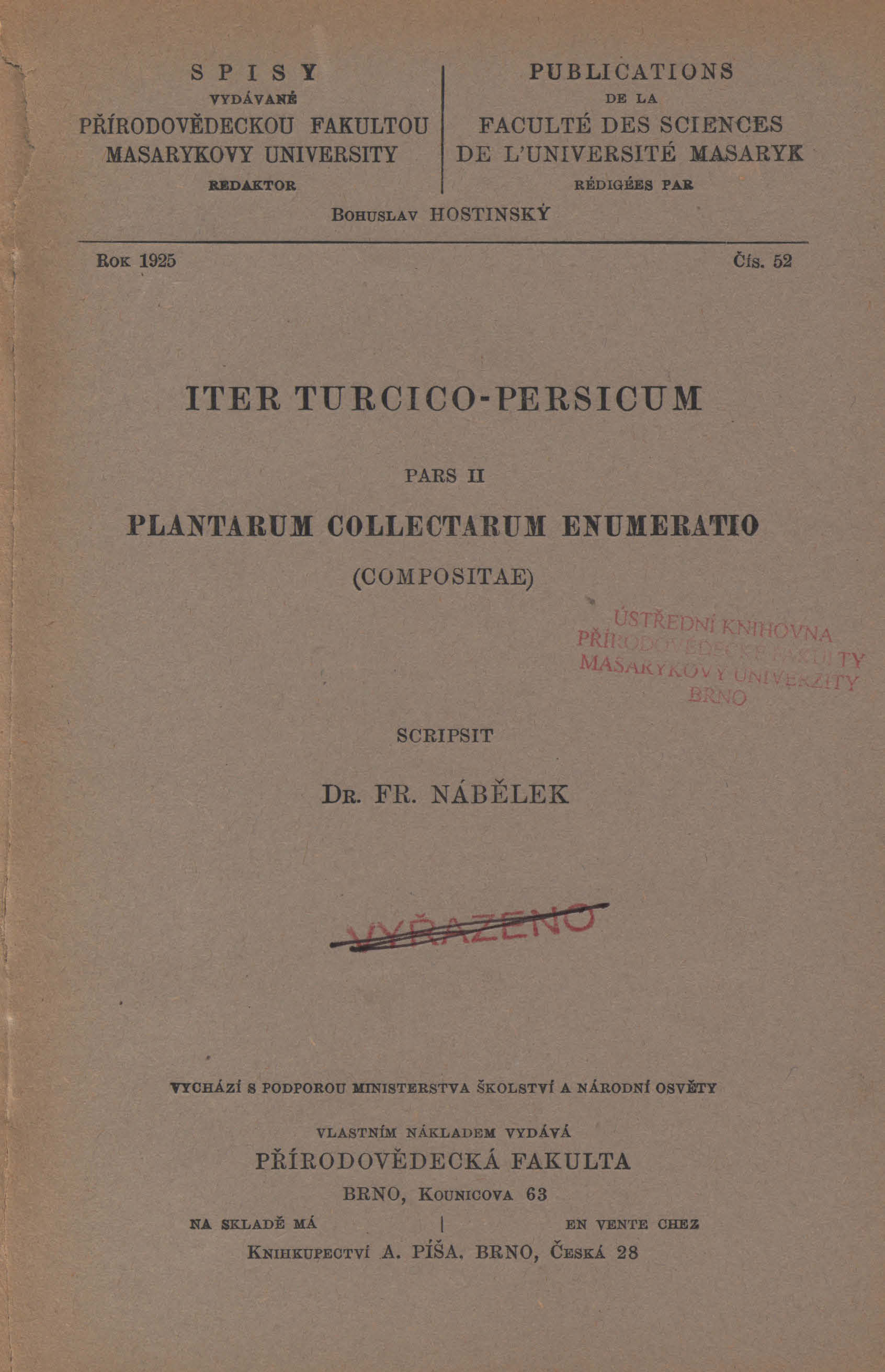 Obálka pro Iter Turcico-Persicum. Pars II, Plantarum collectarum enumeratio (Compositae)