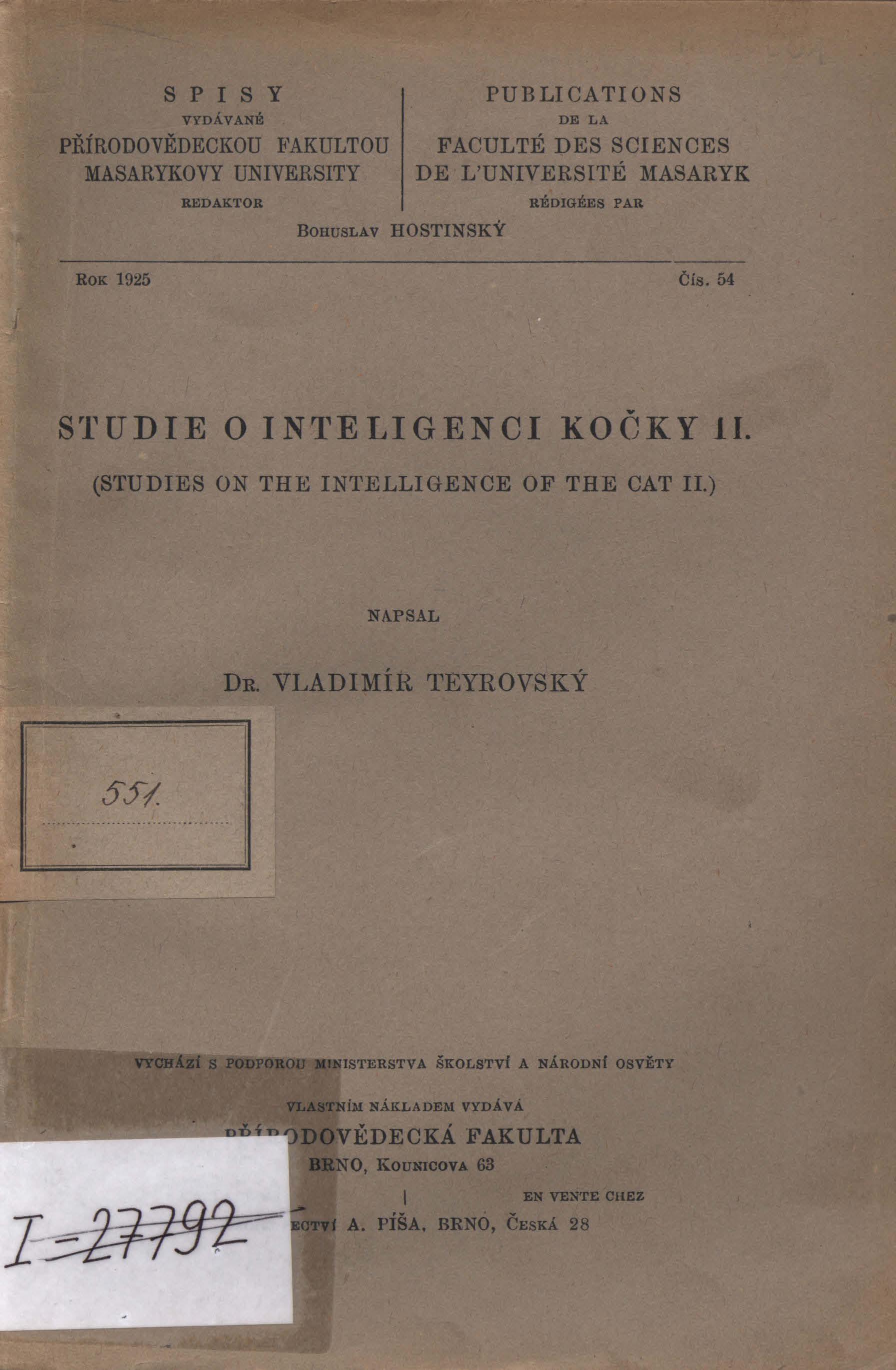 Obálka pro Studie o inteligenci kočky. II.