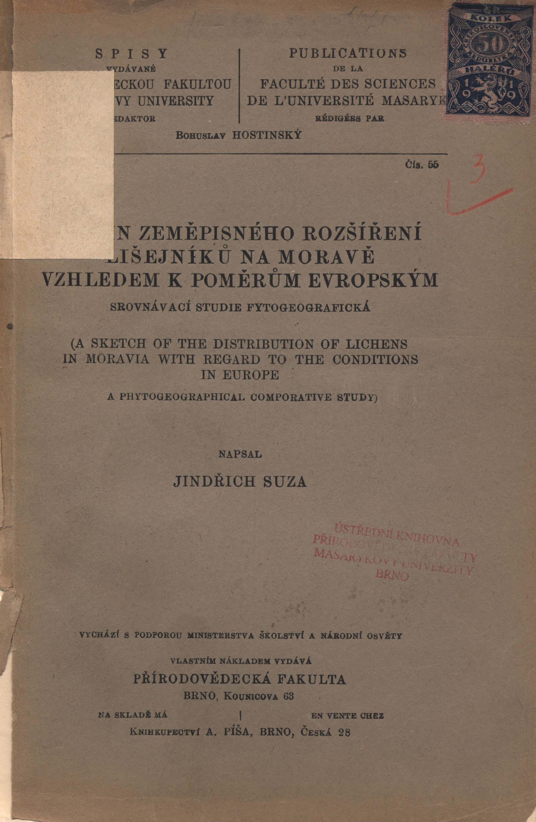Obálka pro Nástin zeměpisného rozšíření lišejníků na Moravě vzhledem k poměrům evropským : srovnávací studie fytogeografická