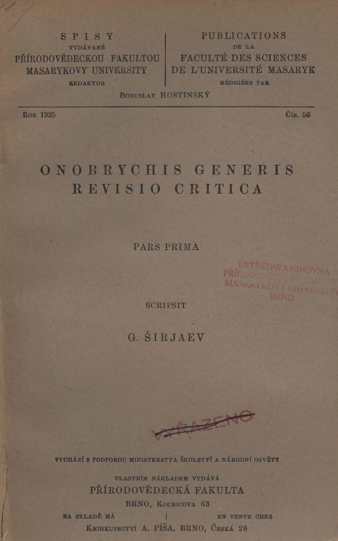 Obálka pro Onobrychis generis : Revisio critica. Pars prima