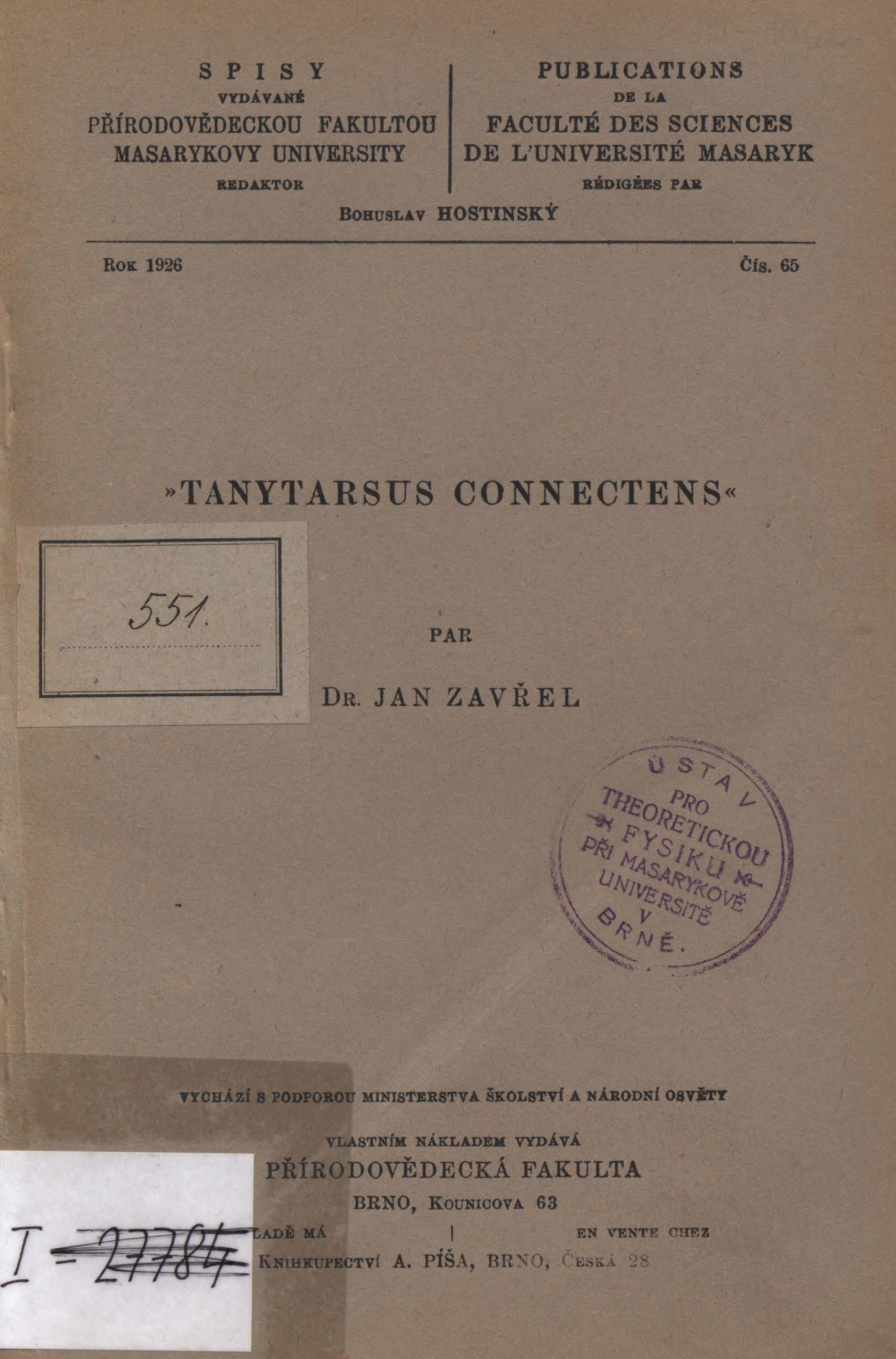 Obálka pro Tanytarsus connectens