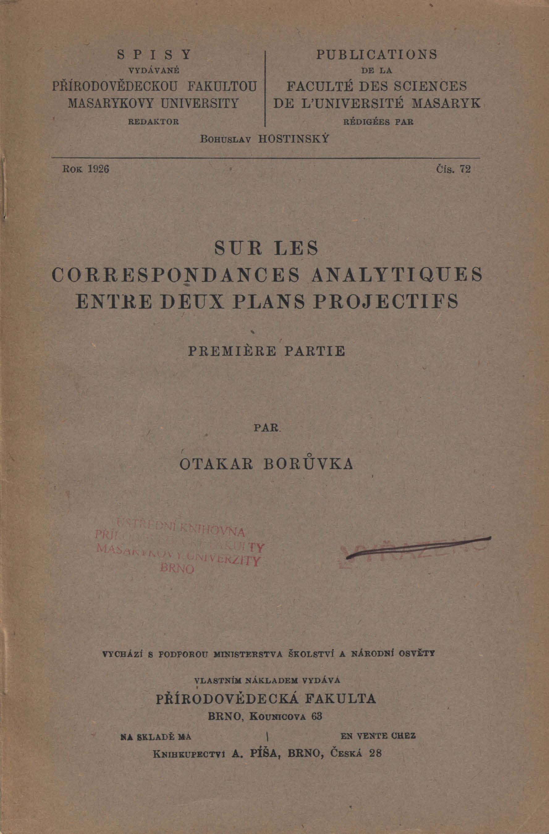 Obálka pro Sur les correspondances analytiques entre deux plans projectifs. Premiere partie