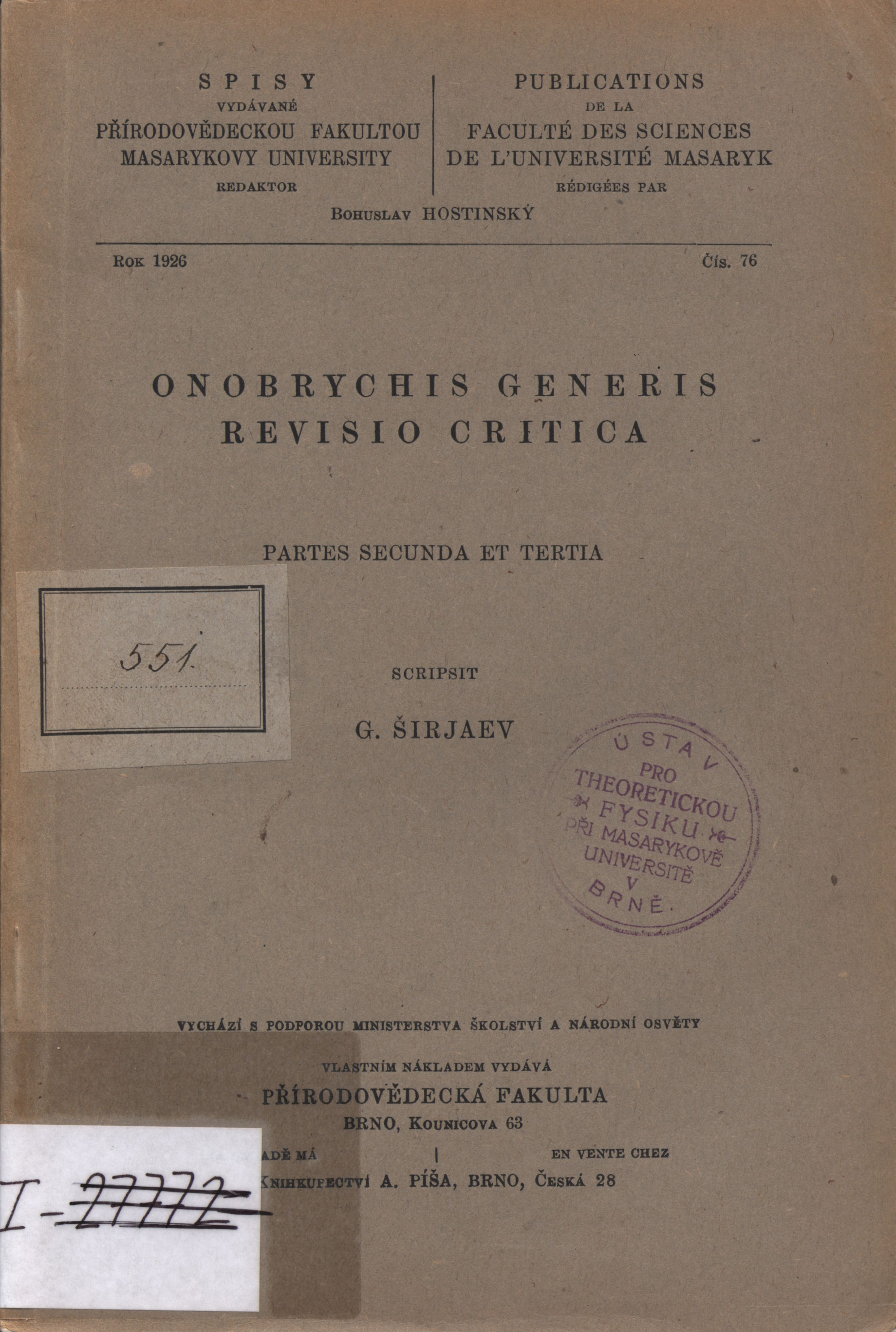 Obálka pro Onobrychis generis : Revisio critica. Partes secunda et tertia