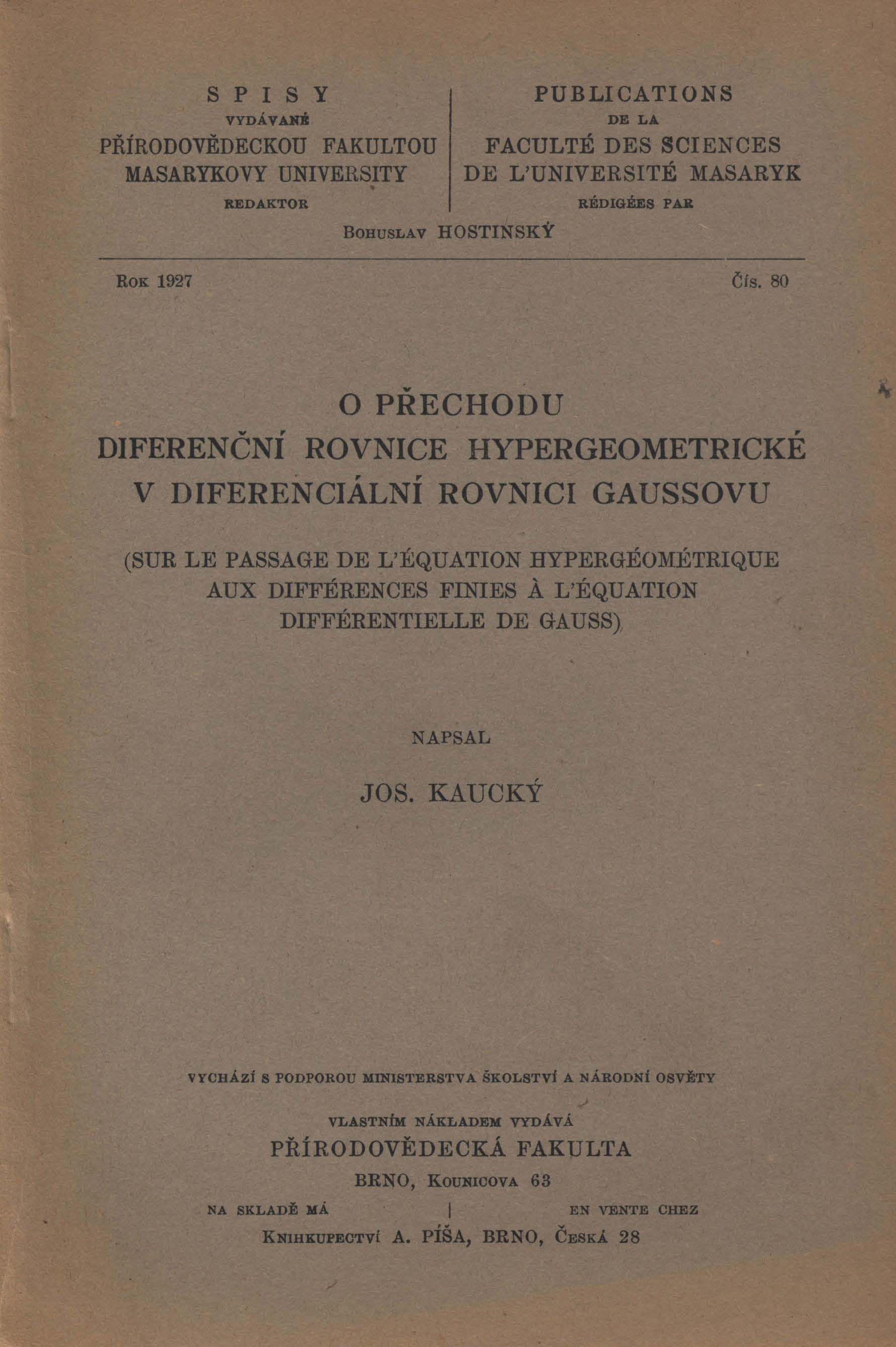 Obálka pro O přechodu diferenční rovnice hypergeometrické v diferenciální rovnici Gaussovu