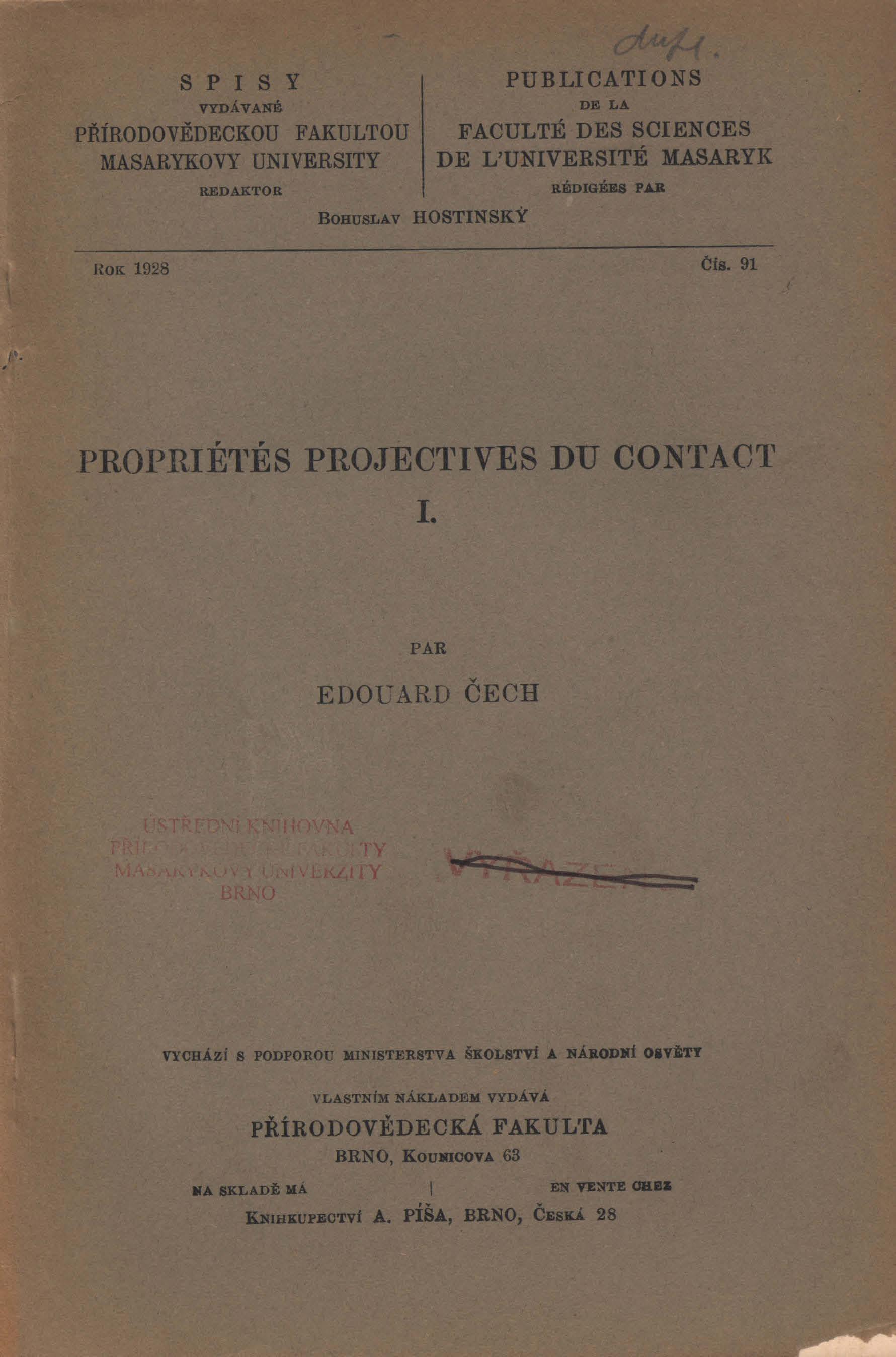 Obálka pro Propriétés projectives du contact I.