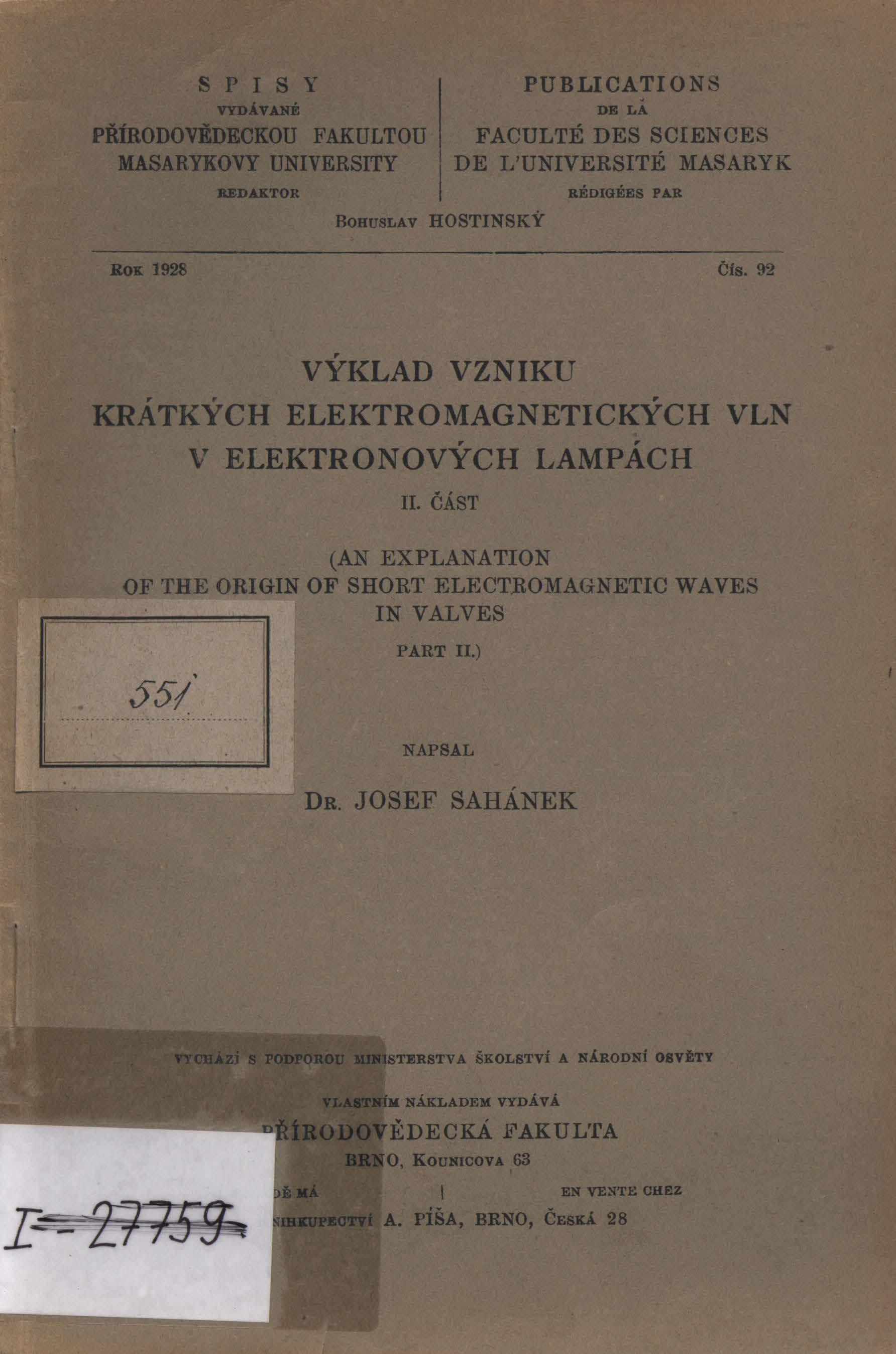 Obálka pro Výklad vzniku krátkých elektromagnetických vln v elektronových lampách. II. Část