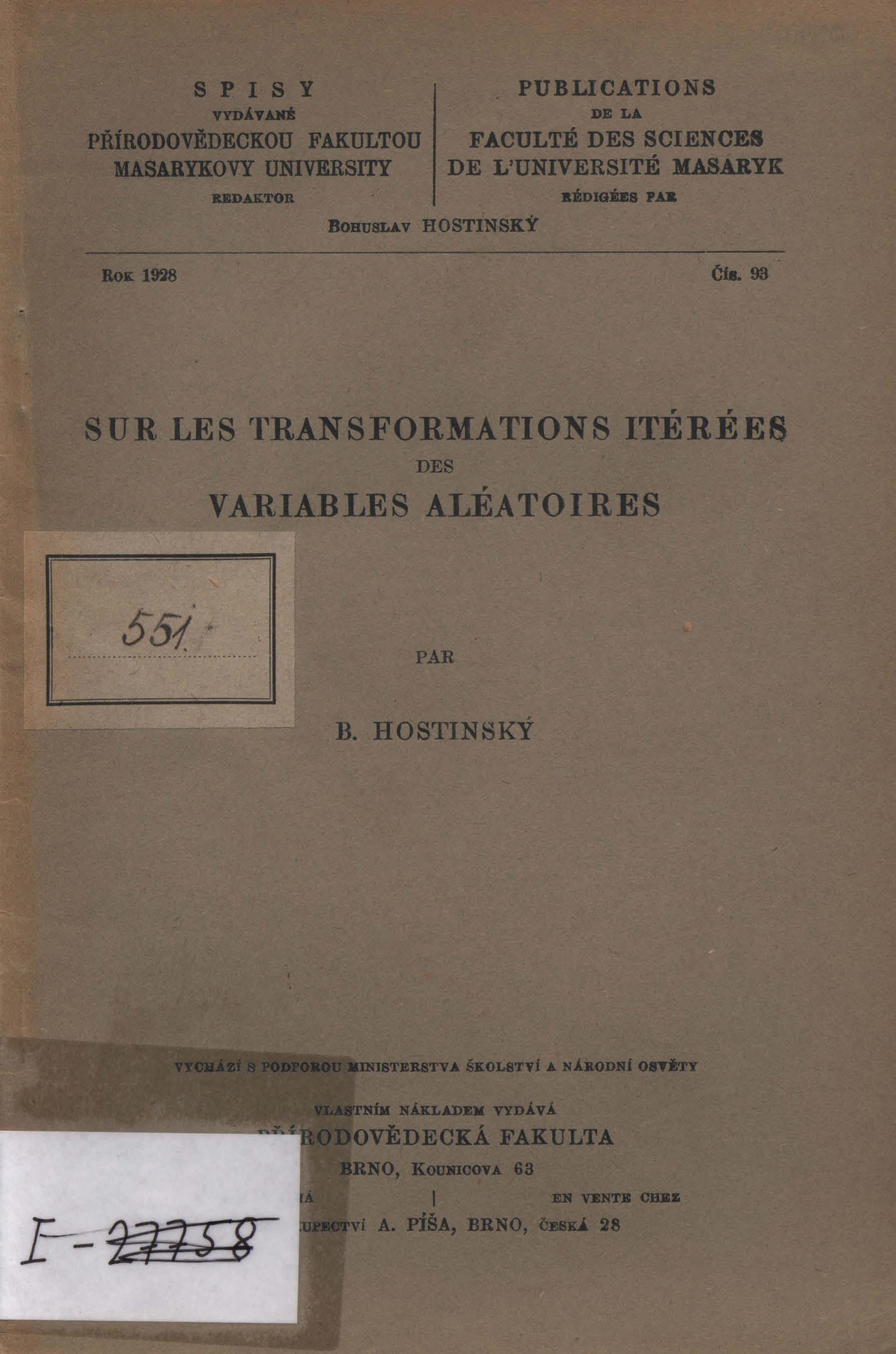 Obálka pro Sur les transformation itérées des variables aléatoires par B. Hostinský