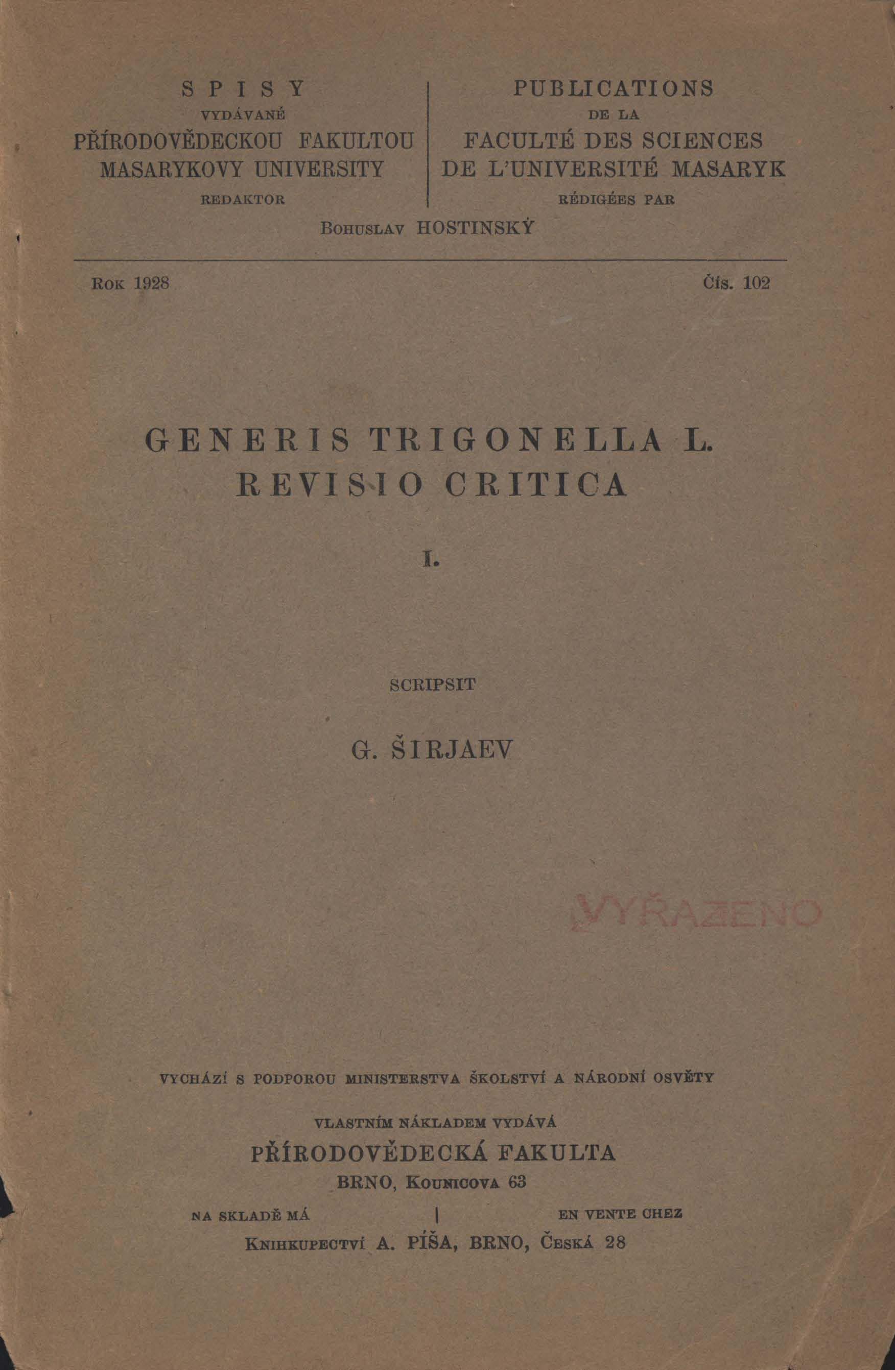 Obálka pro Generis Trigonella 1. revisio critica. I.