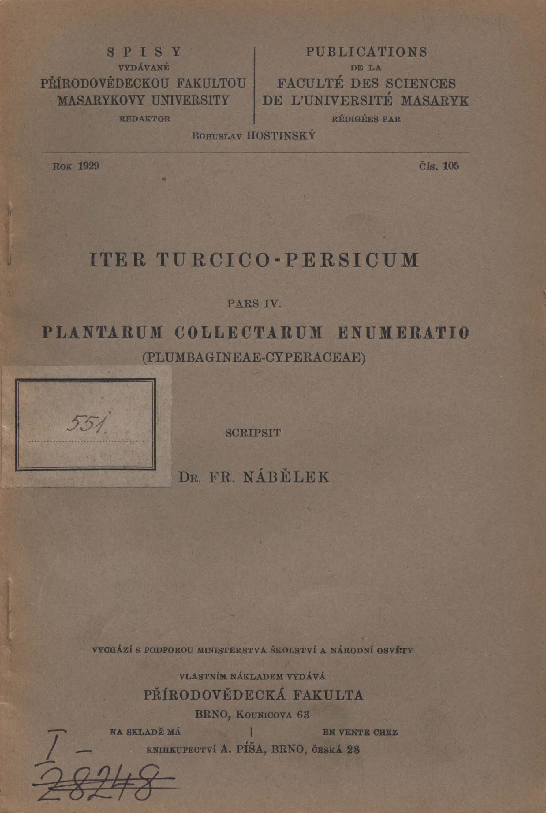 Obálka pro Iter Turcico-Persicum. Pars IV, Plantarum collectarum enumeratio (Plumbagineae-Cyperaceae)
