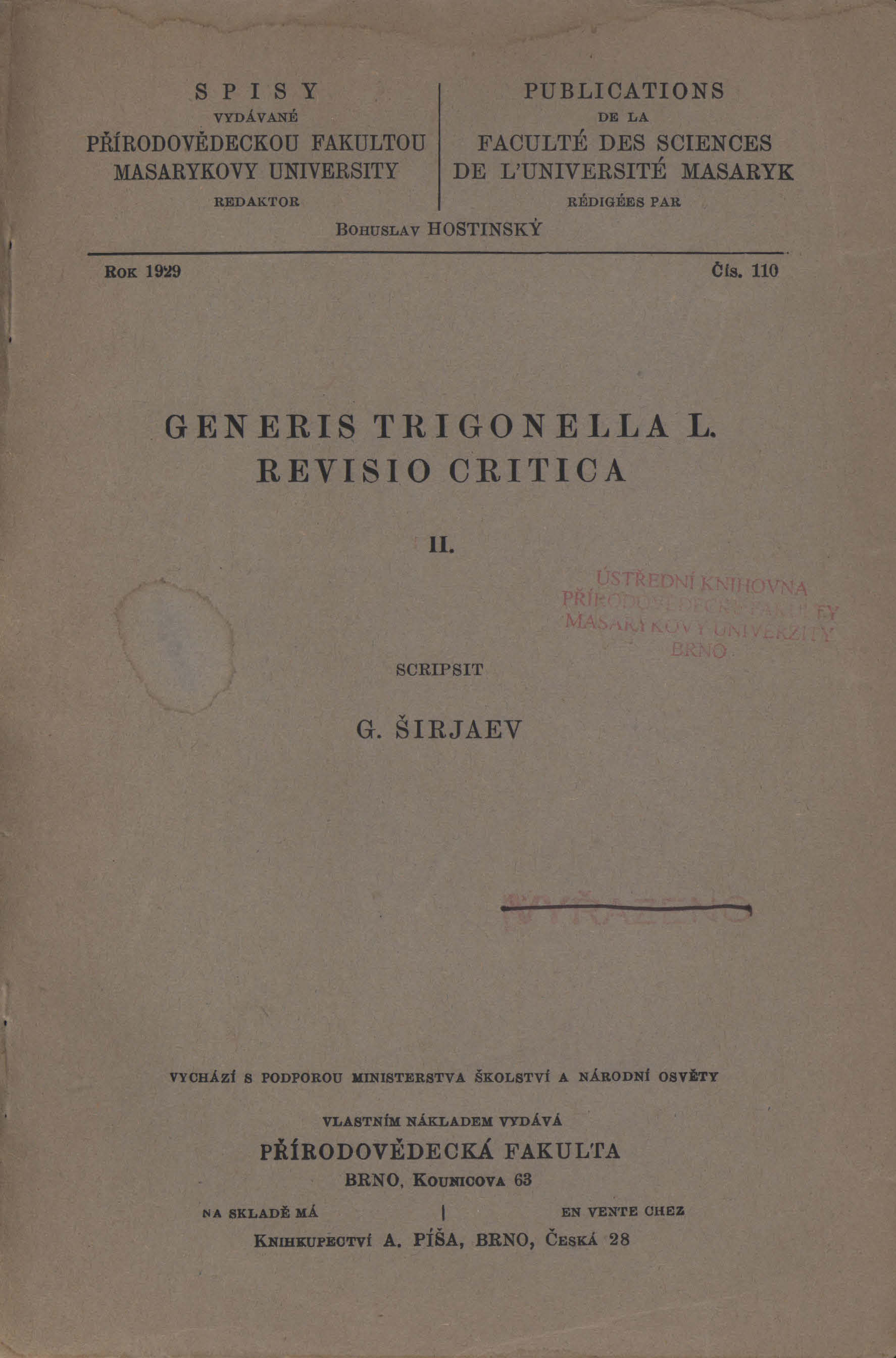 Obálka pro Generis Trigonella L. revisio critica II