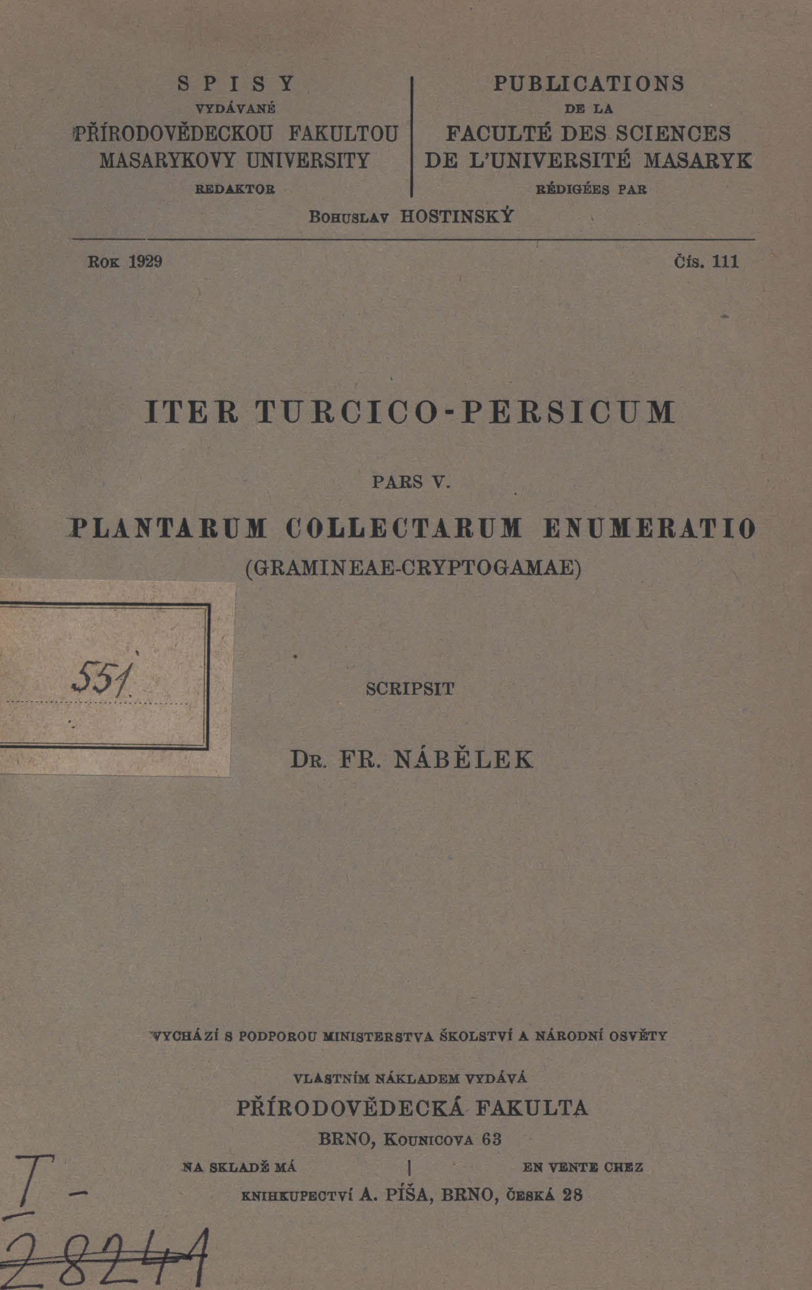 Obálka pro Iter Turcico-Persicum. Pars V, Plantarum collectarum enumeratio (Gramineae-Cryptogamae)