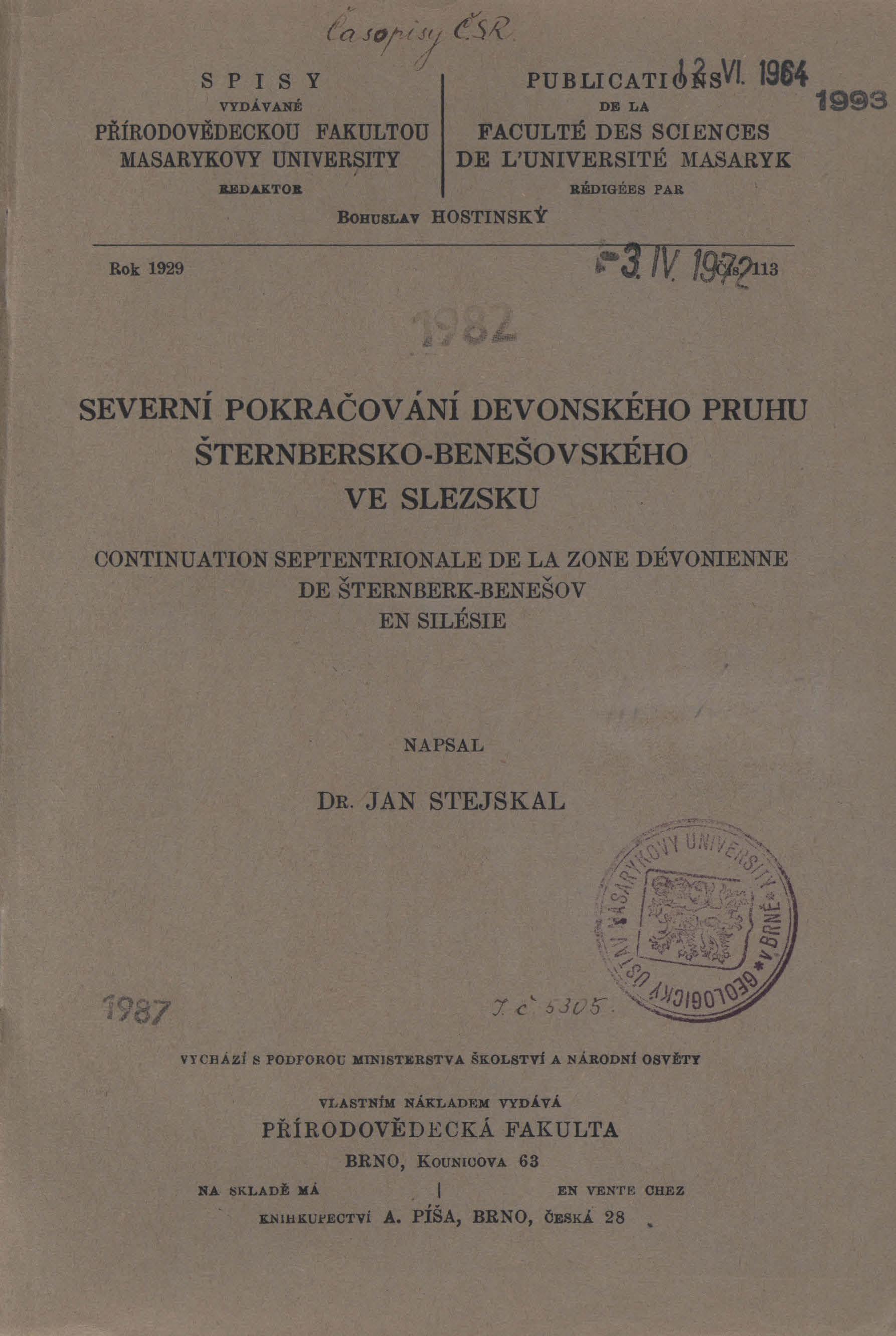 Obálka pro Severní pokračování devonského pruhu šternbersko-benešovského ve Slezsku