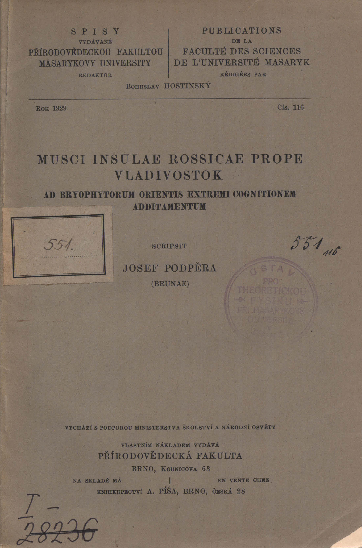 Obálka pro Musci Insulae Rossicae prope Vladivostok : ad Bryophytorum Orientis extremi cognitionem additamentum