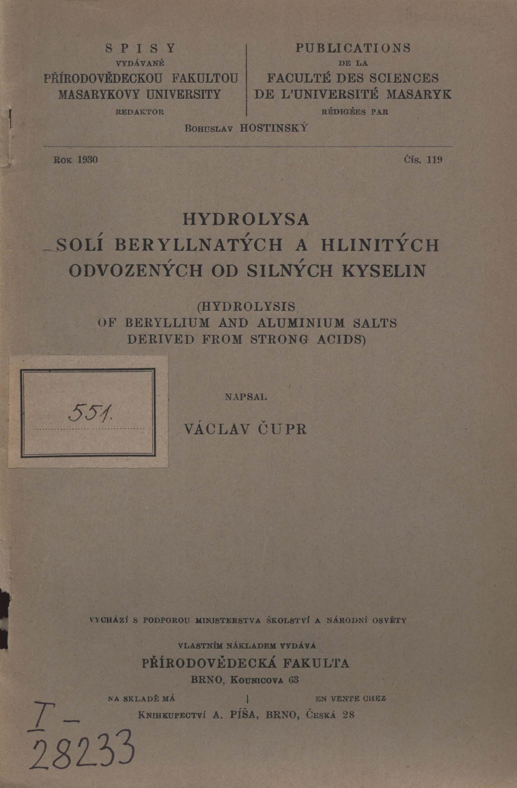 Obálka pro Hydrolysa solí beryllnatých a hlinitých odvozených od silných kyselin