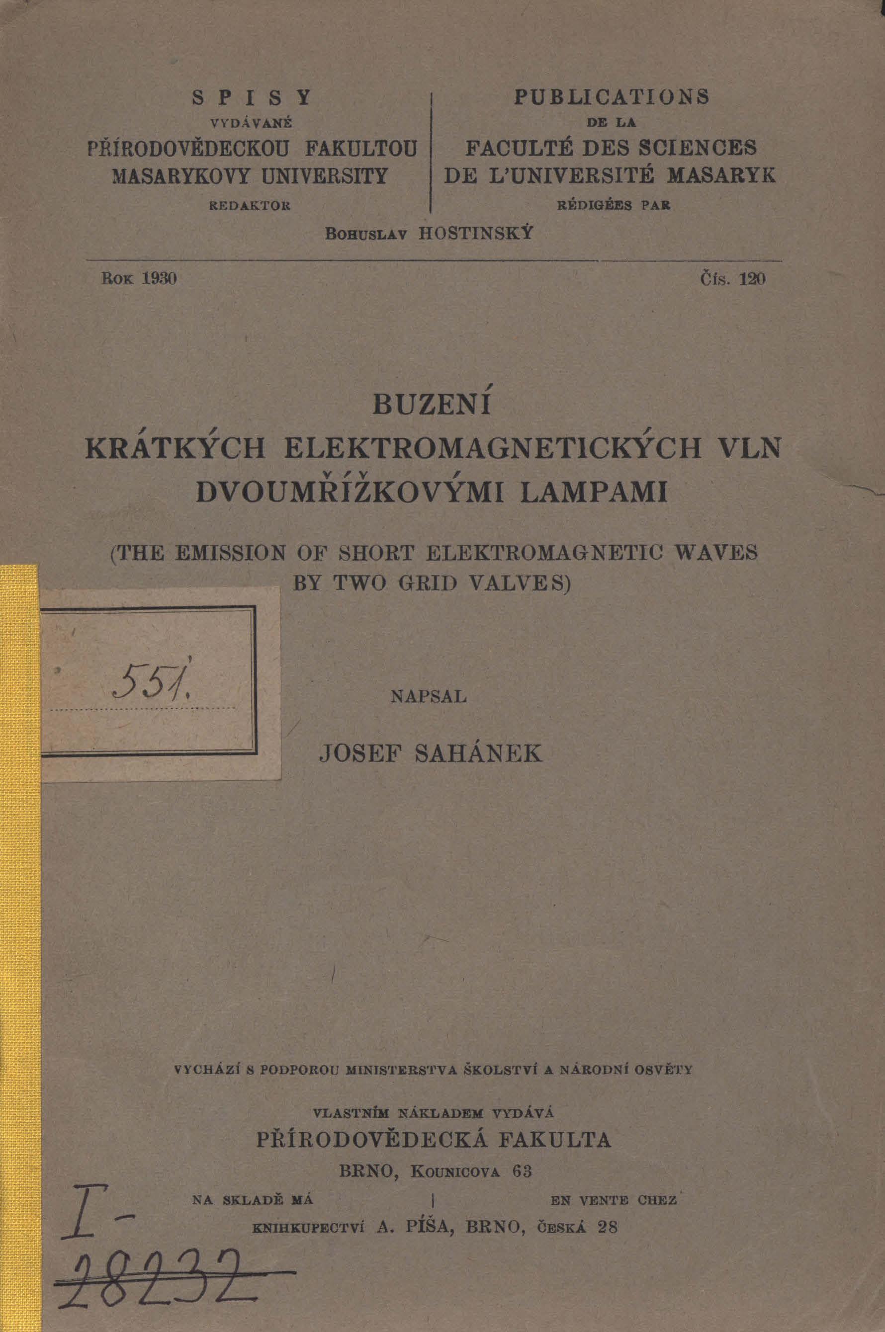 Obálka pro Buzení krátkých elektromagnetických vln dvoumřížkovými lampami