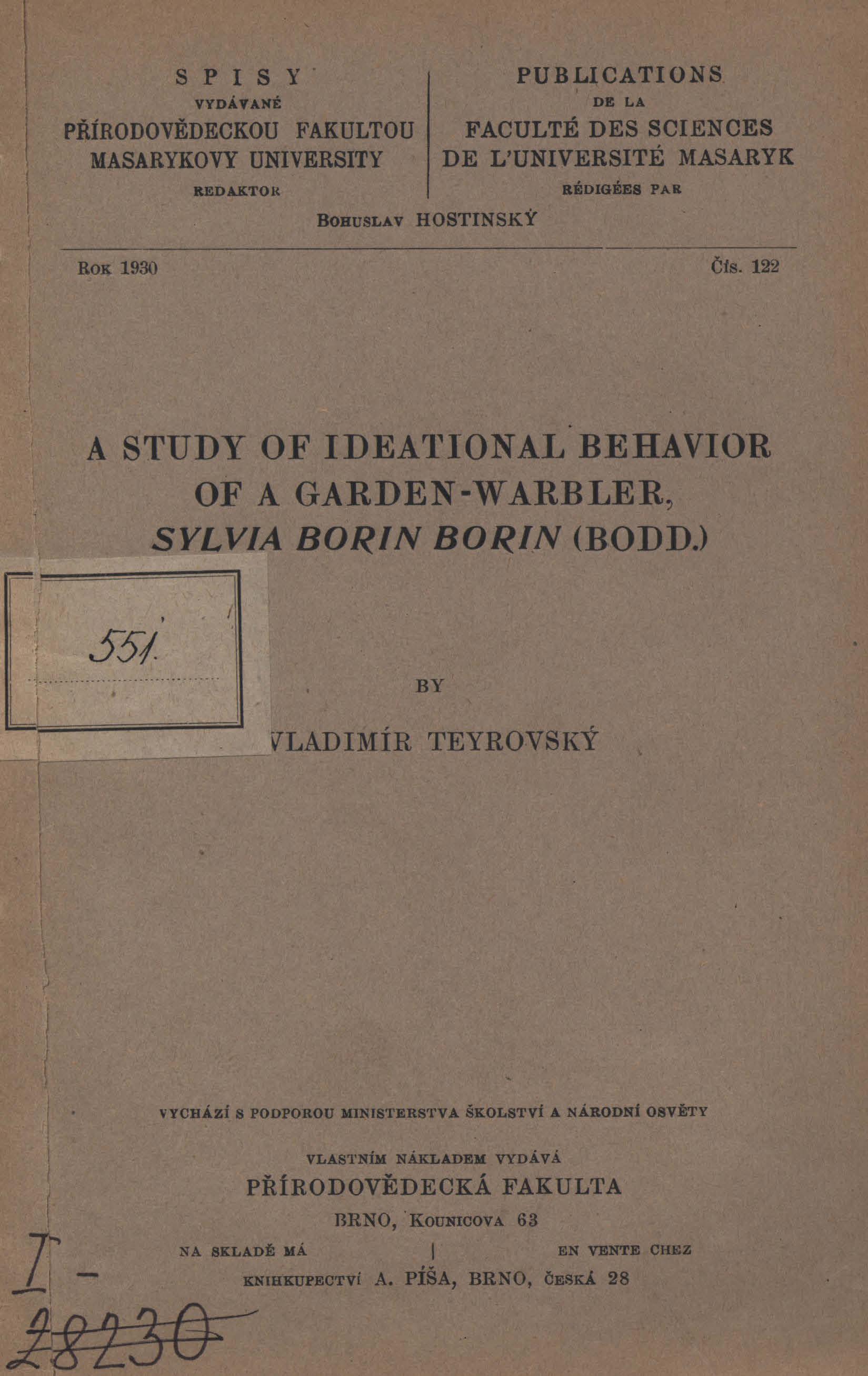 Obálka pro A study of ideational behavior of a garden-warbler, Sylvia Borin Borin : (Bodd)