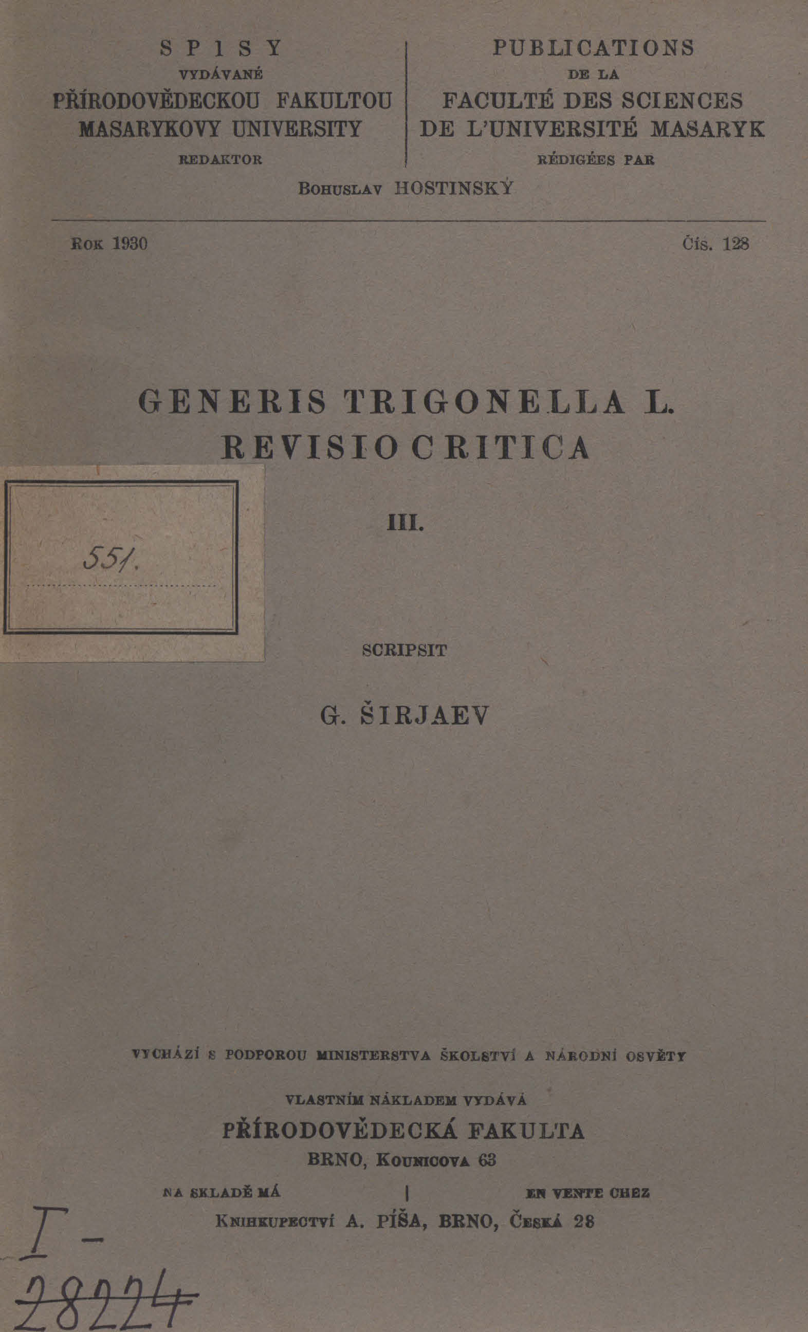 Obálka pro Generis Trigonella L. revisio critica. III