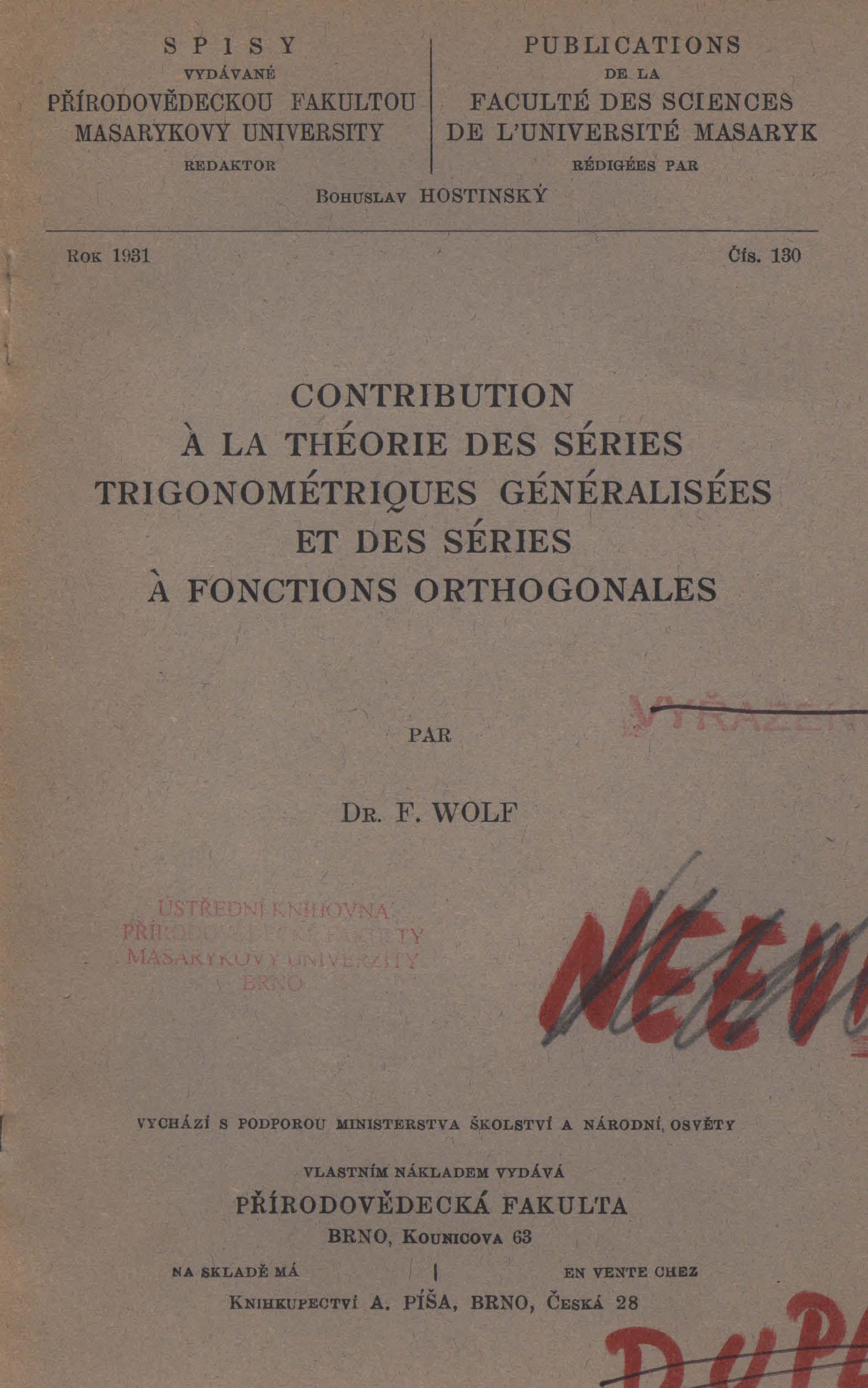 Obálka pro Contribution a la théorie des séries trigonométriques généralisées et des séries a fonctions orthogonales